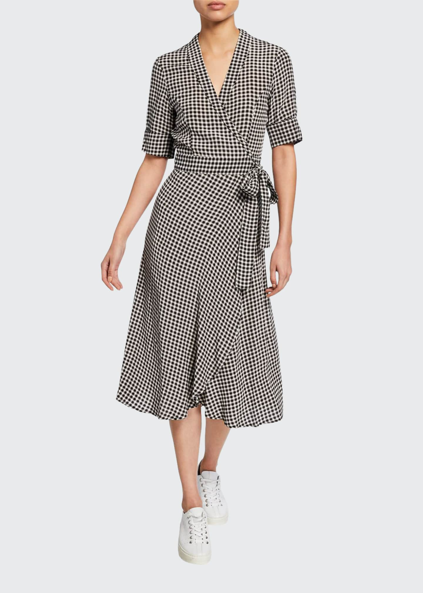 Image 1 of 2: Gingham-Printed Elbow-Sleeve Crepe Wrap Dress