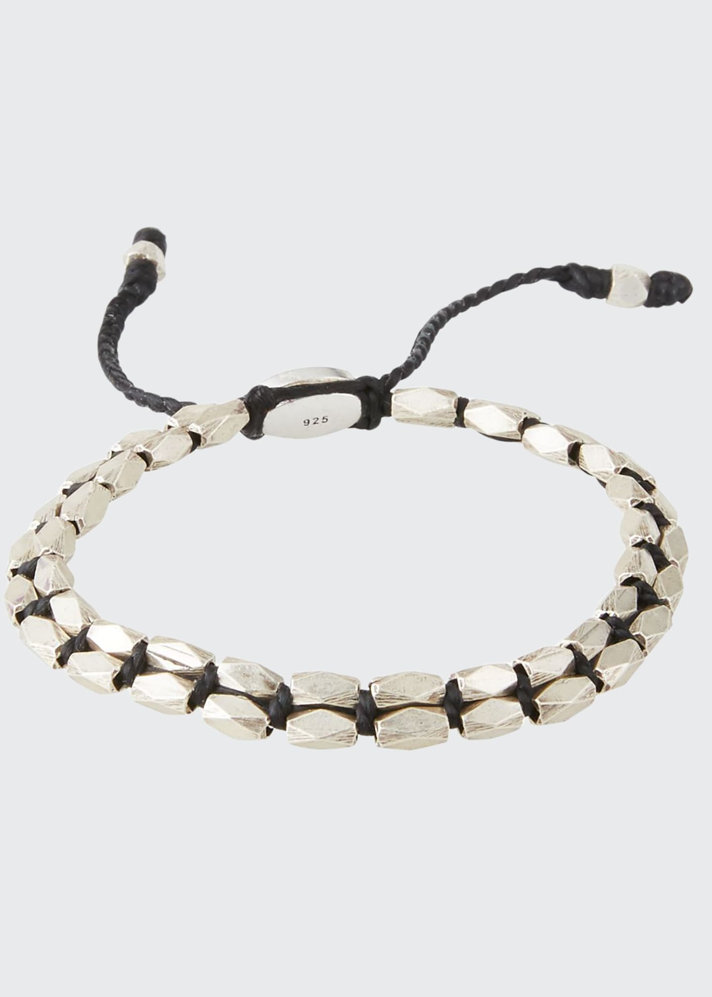Image 1 of 1: Men's Sterling Silver Bead Bracelet, Black