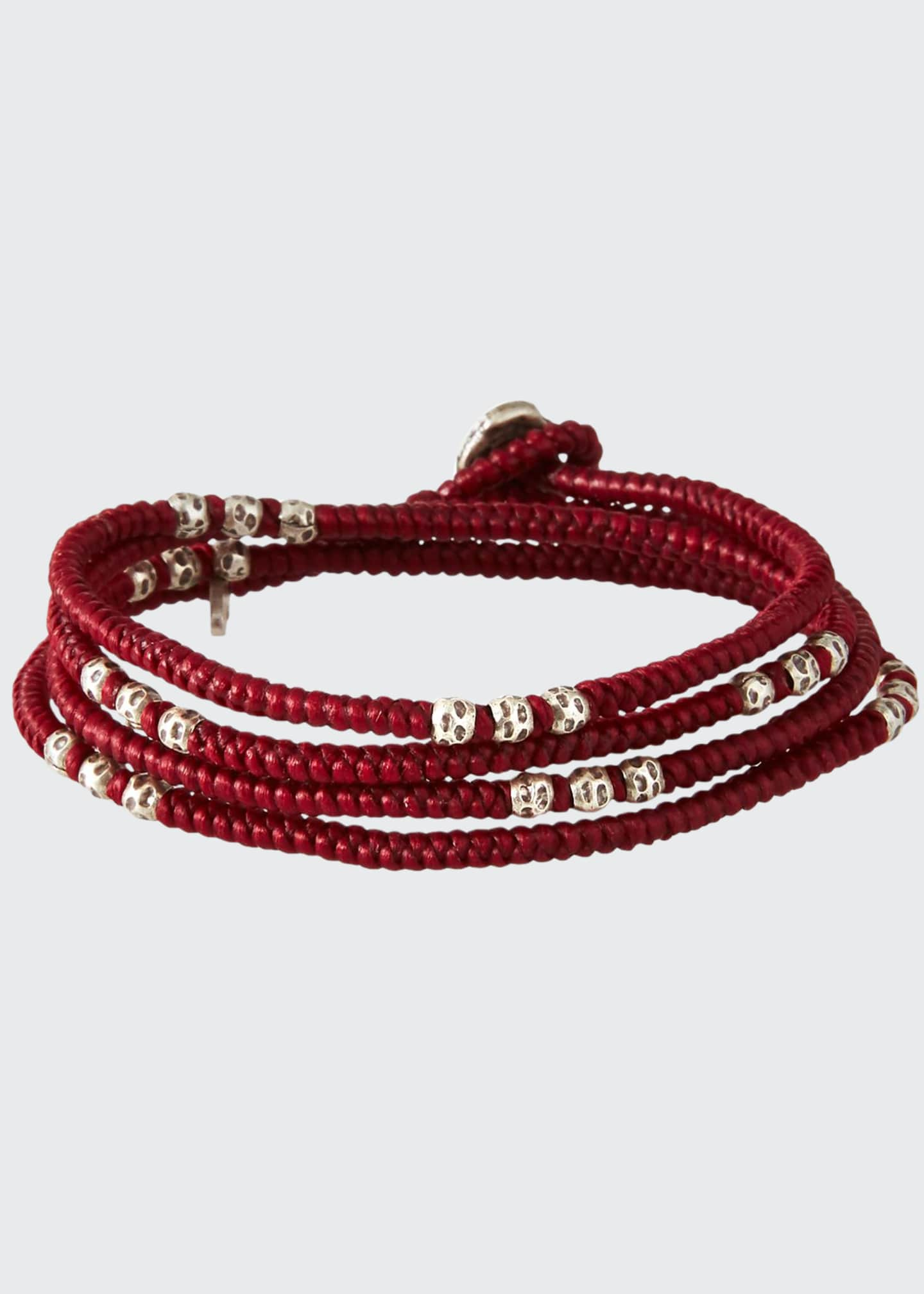 Image 1 of 2: Men's Knotted Wrap Bracelet with Silver Beads, Red