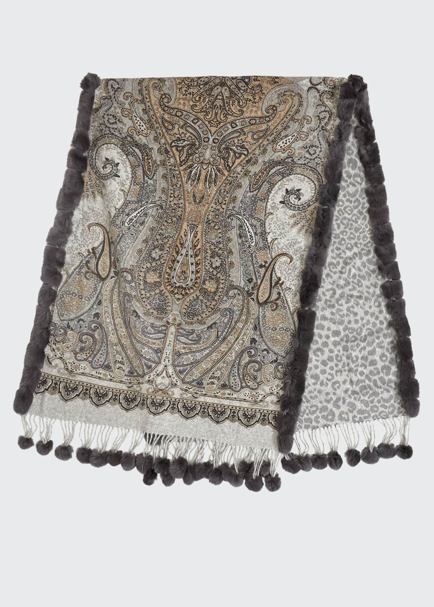 Image 1 of 1: Paisley & Leopard Print Double Face Cashmere w/ Fur Trim