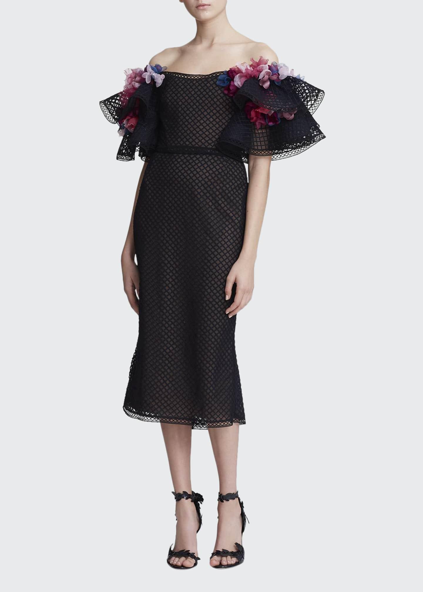Marchesa Off-the-Shoulder Grid Embroidered Dress