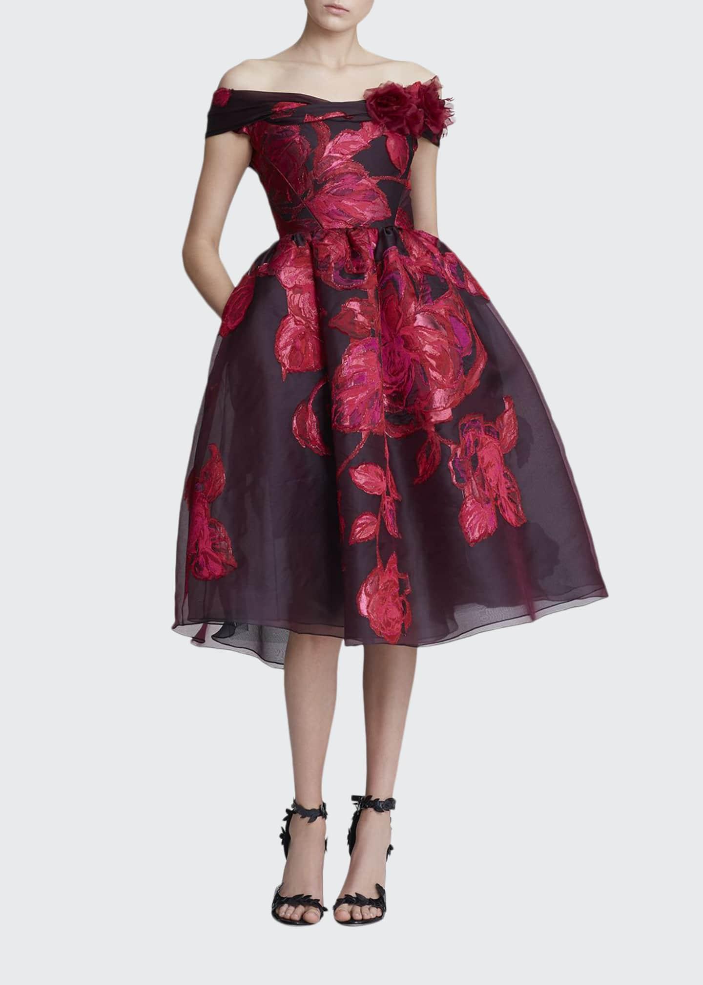 Marchesa Off-the-Shoulder Jacquard Cocktail Dress