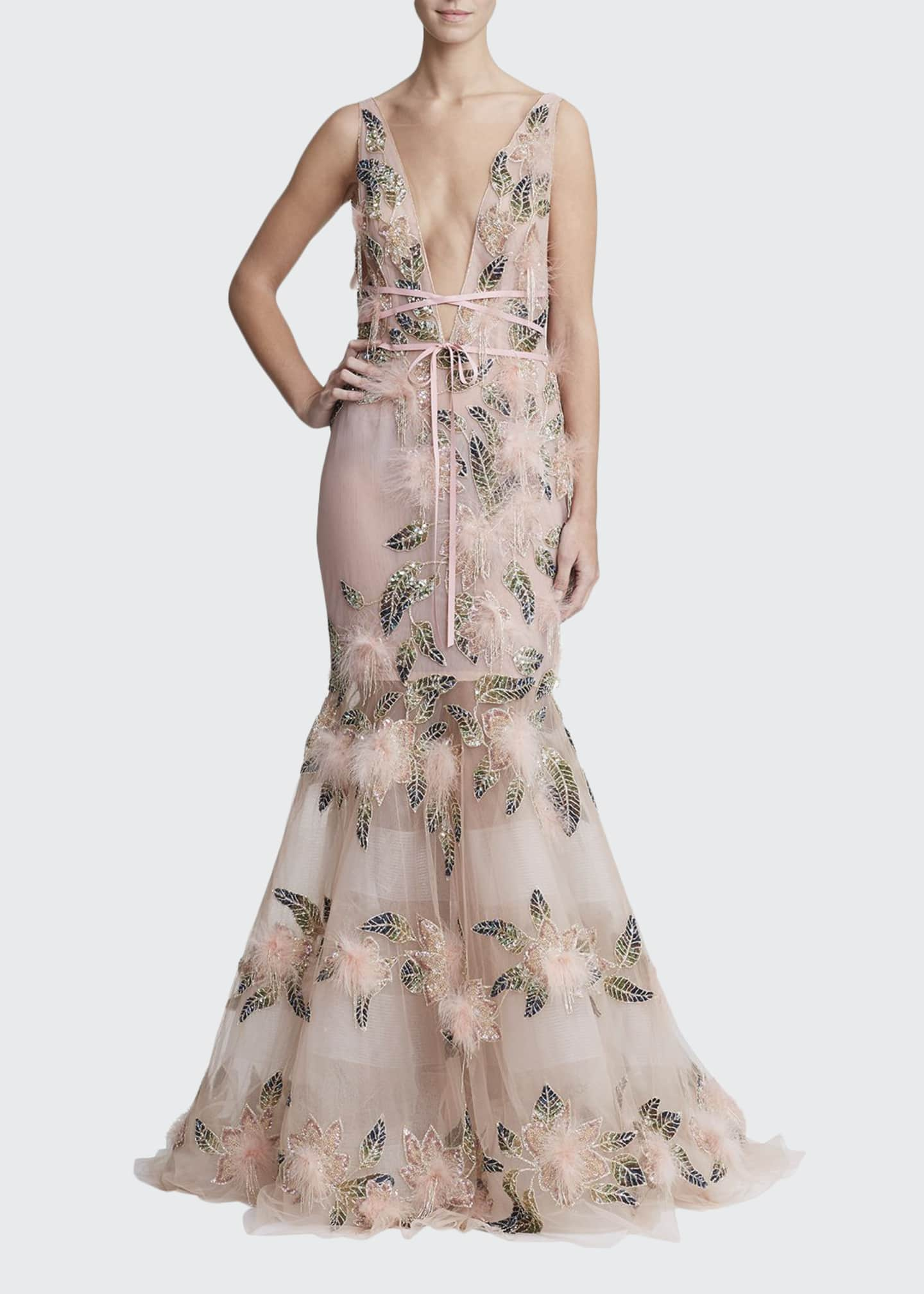 Marchesa Feather Trim Plunging Fit-&-Flare Gown