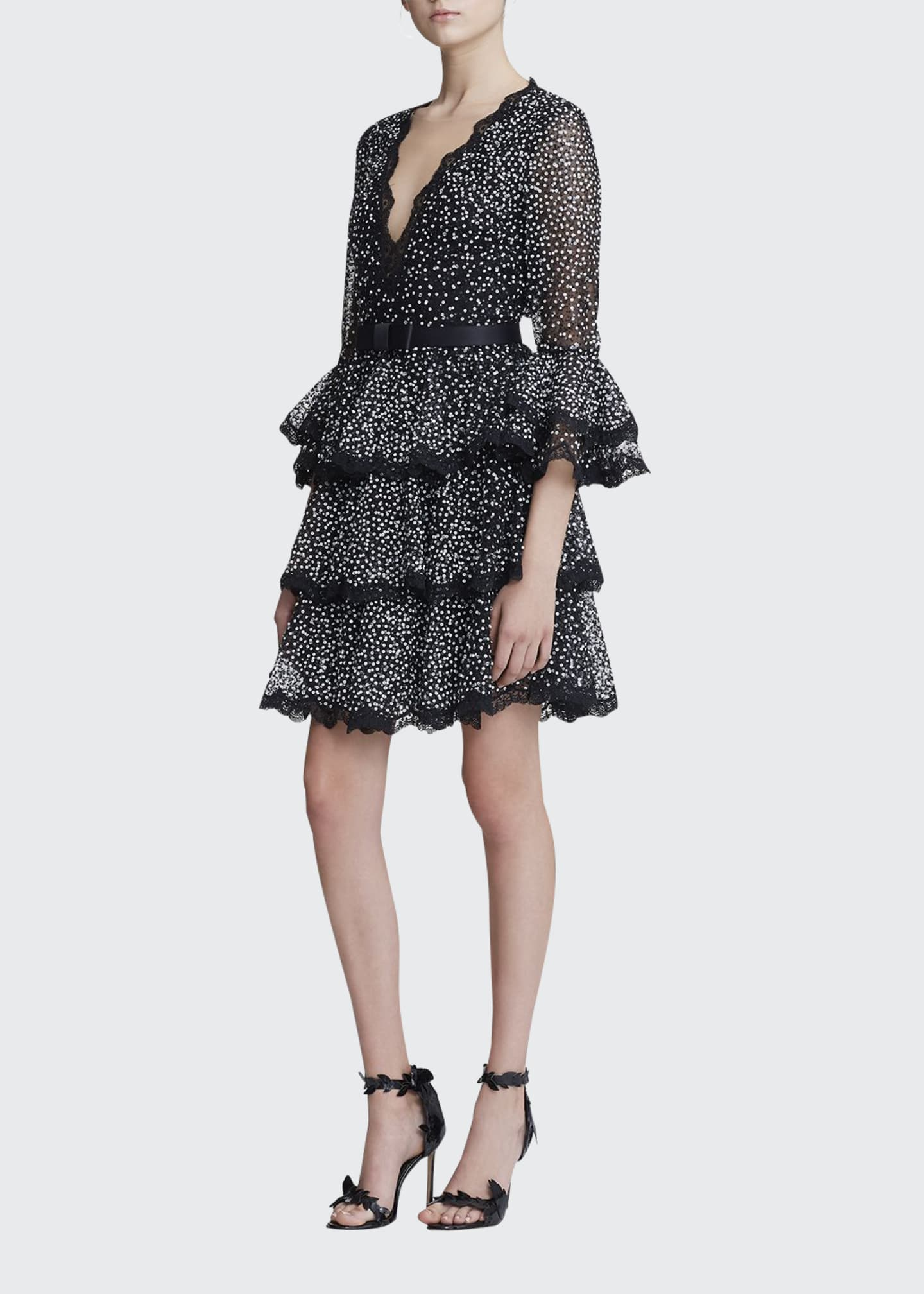 Marchesa Dotted-Tulle Tiered Bell-Sleeve Dress