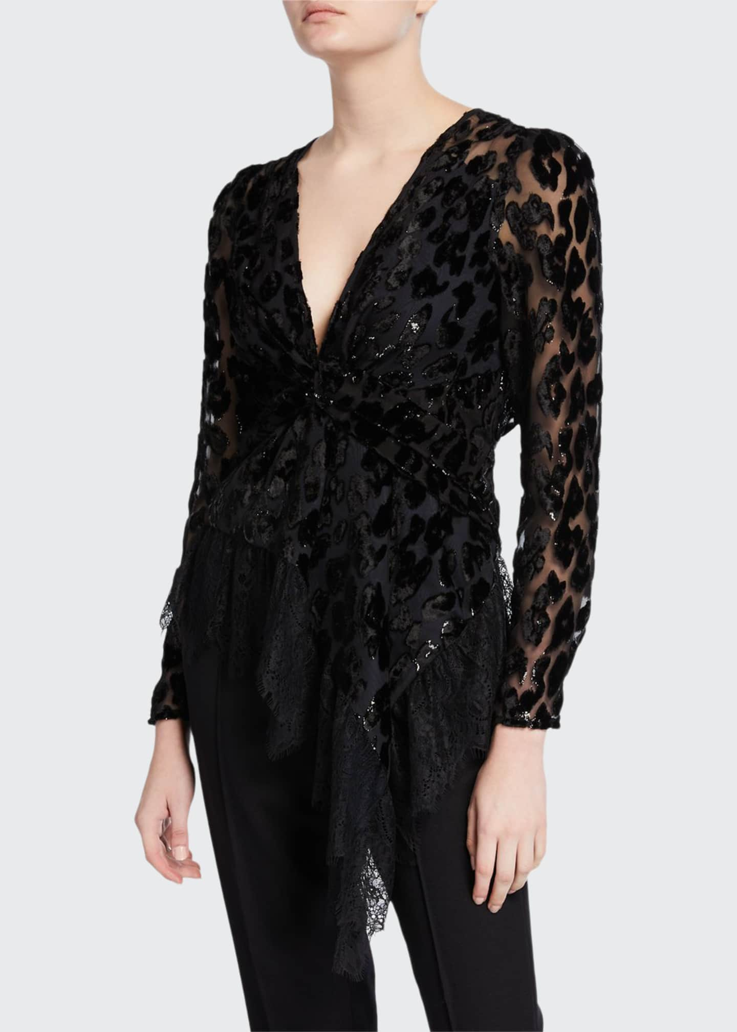 Self-Portrait Twisted Metallic Peplum Top with Lace