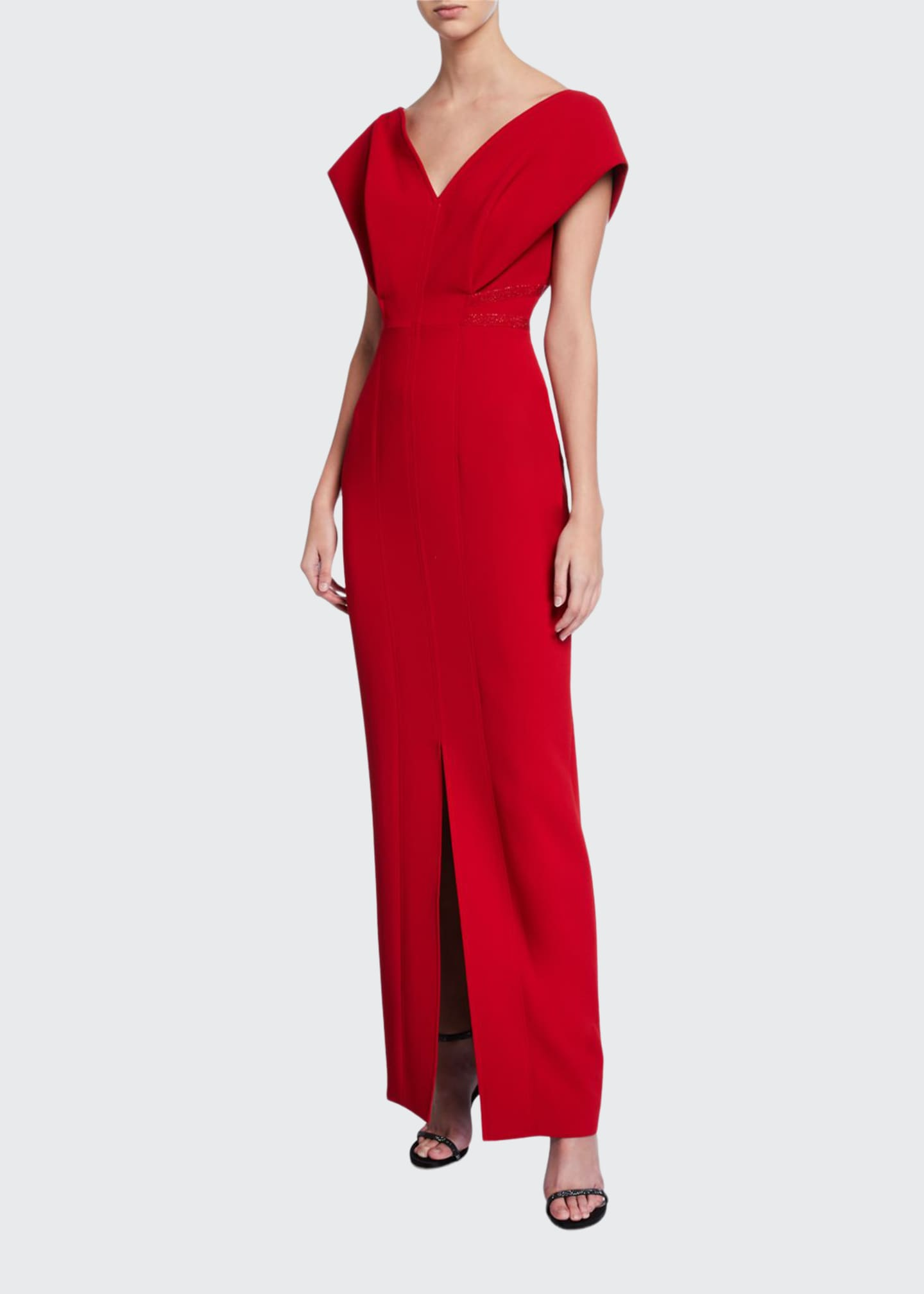 Atelier Caito for Herve Pierre V-Neck Cap-Sleeve Gown