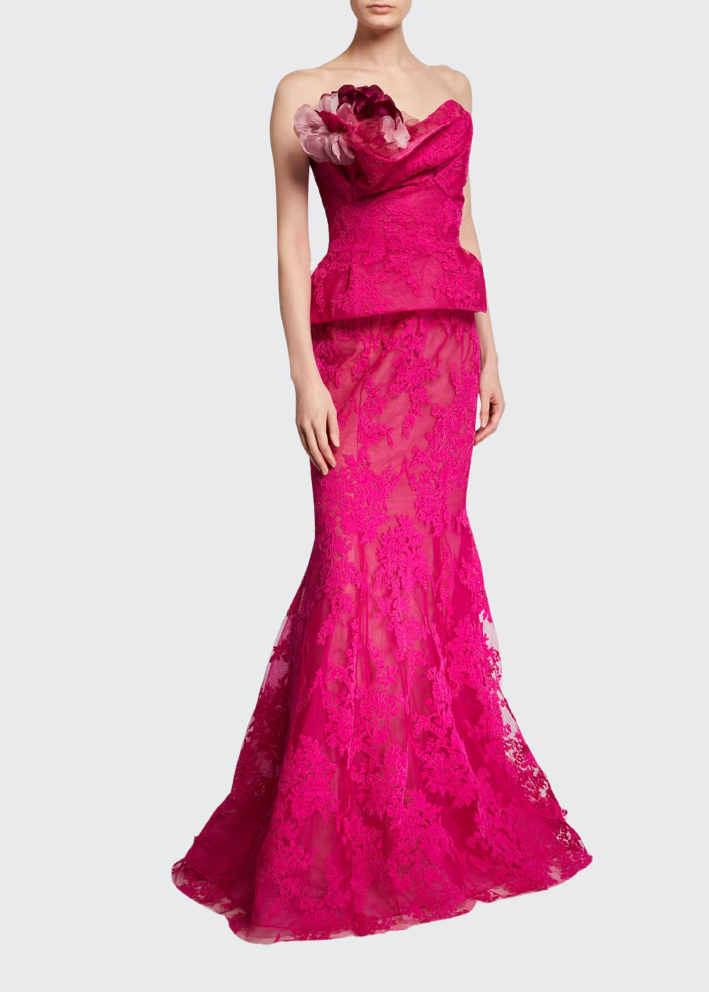 Marchesa Corded Lace Fit & Flare Gown