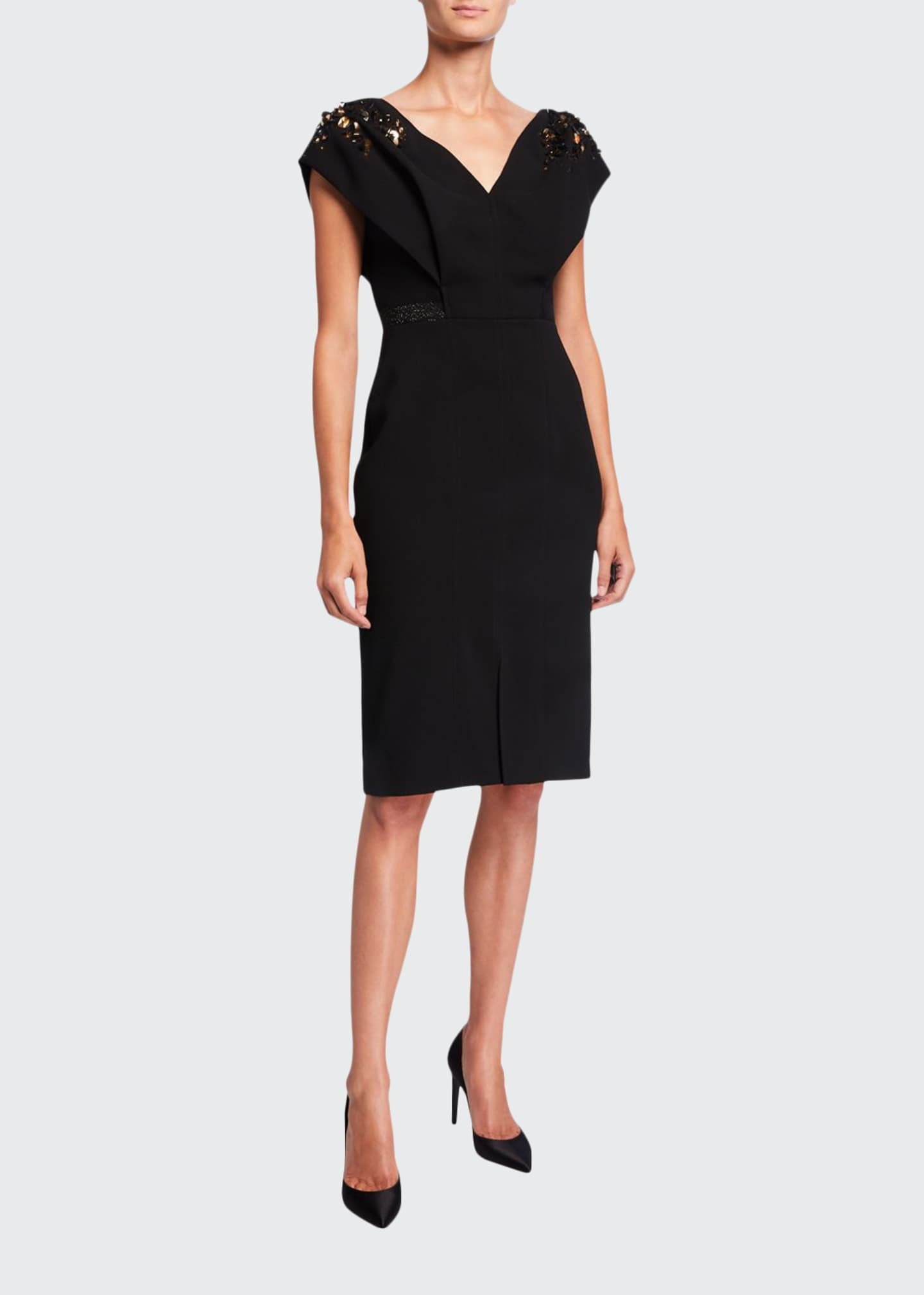 Atelier Caito for Herve Pierre Open V-Neck Embroidered