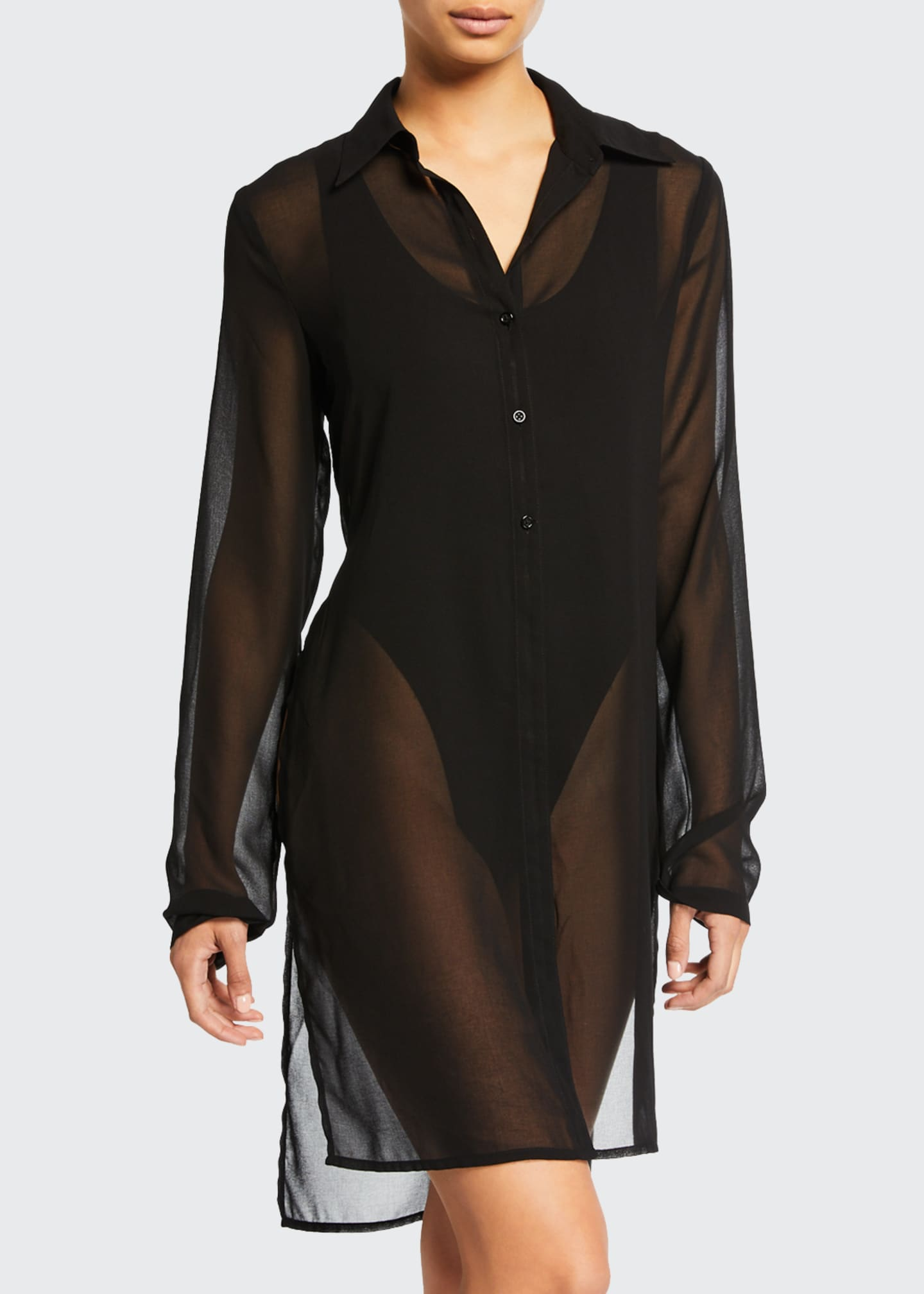 Image 1 of 2: Tropical Coast Sheer Button-Front Coverup