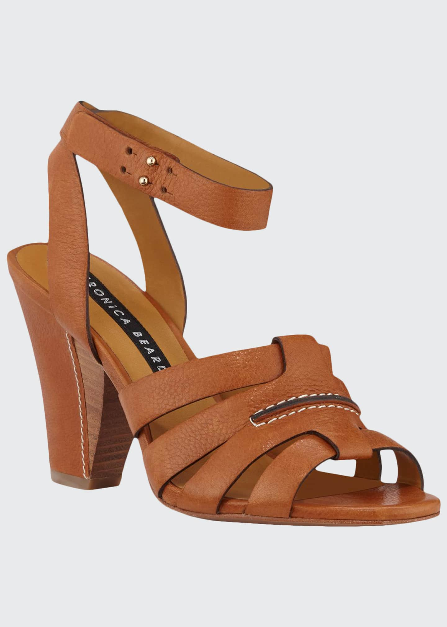 Veronica Beard Charley Leather Ankle-Wrap Sandals