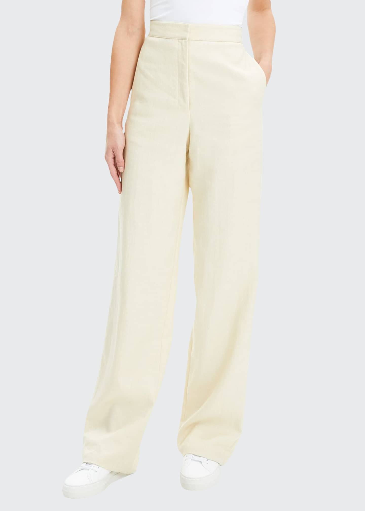 Image 1 of 4: Luxe Linen Clean High-Rise Wide-Leg Trousers