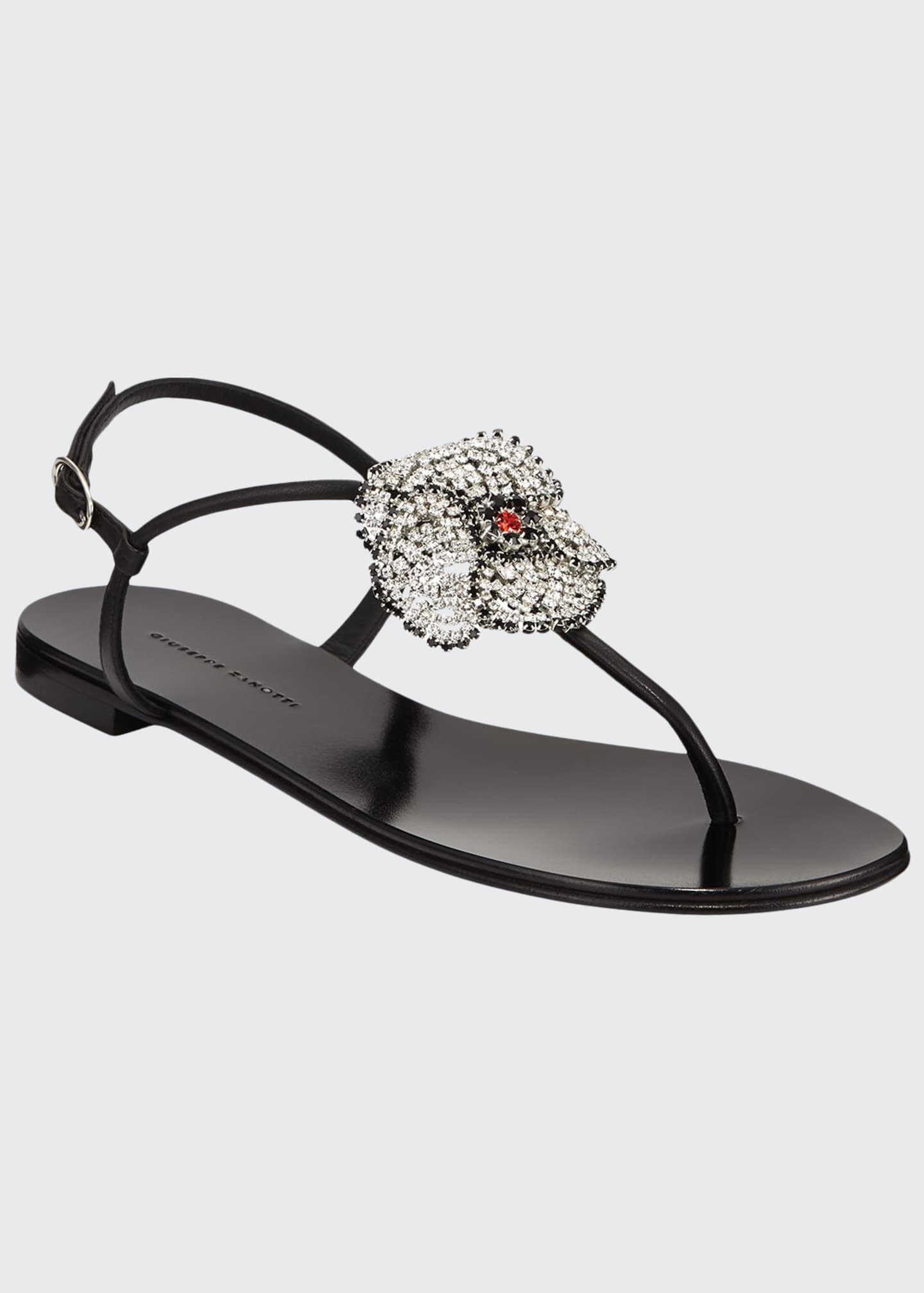 Giuseppe Zanotti Flat Thong Sandals with Crystal Flower