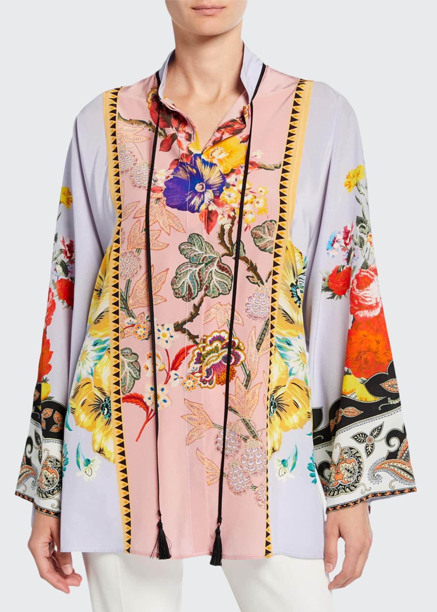 Etro Place Rose Floral Tie-Neck Tunic