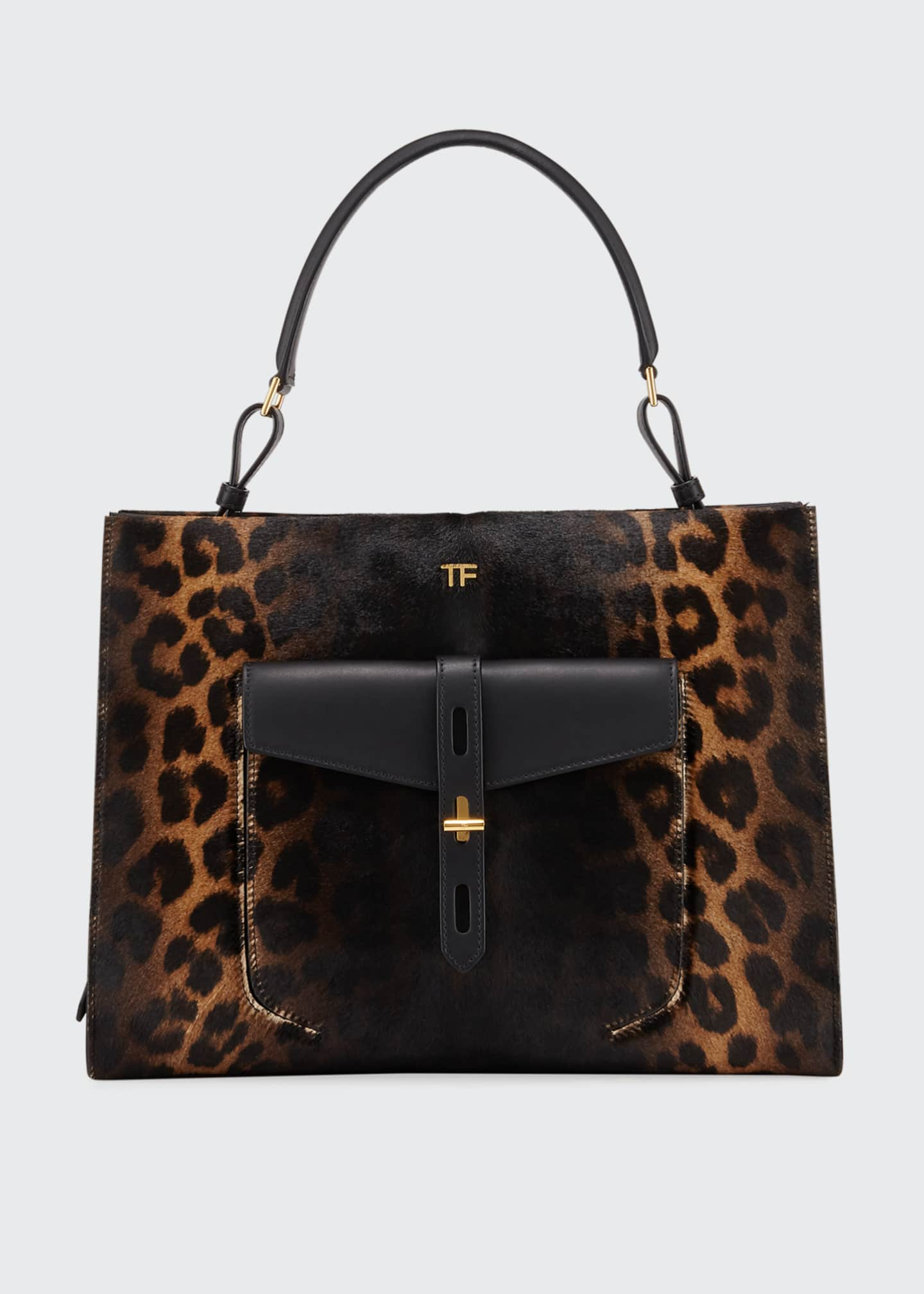 Image 1 of 4: Rialto Medium Leopard Top-Handle Bag