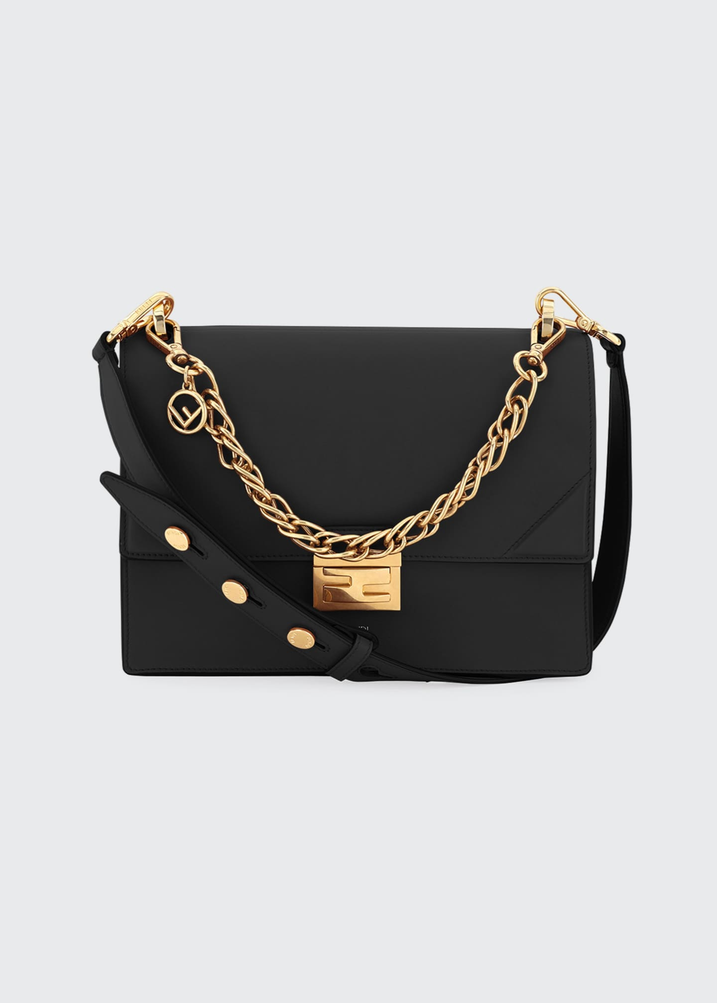 Fendi Kan Shiny Leather Shoulder Bag