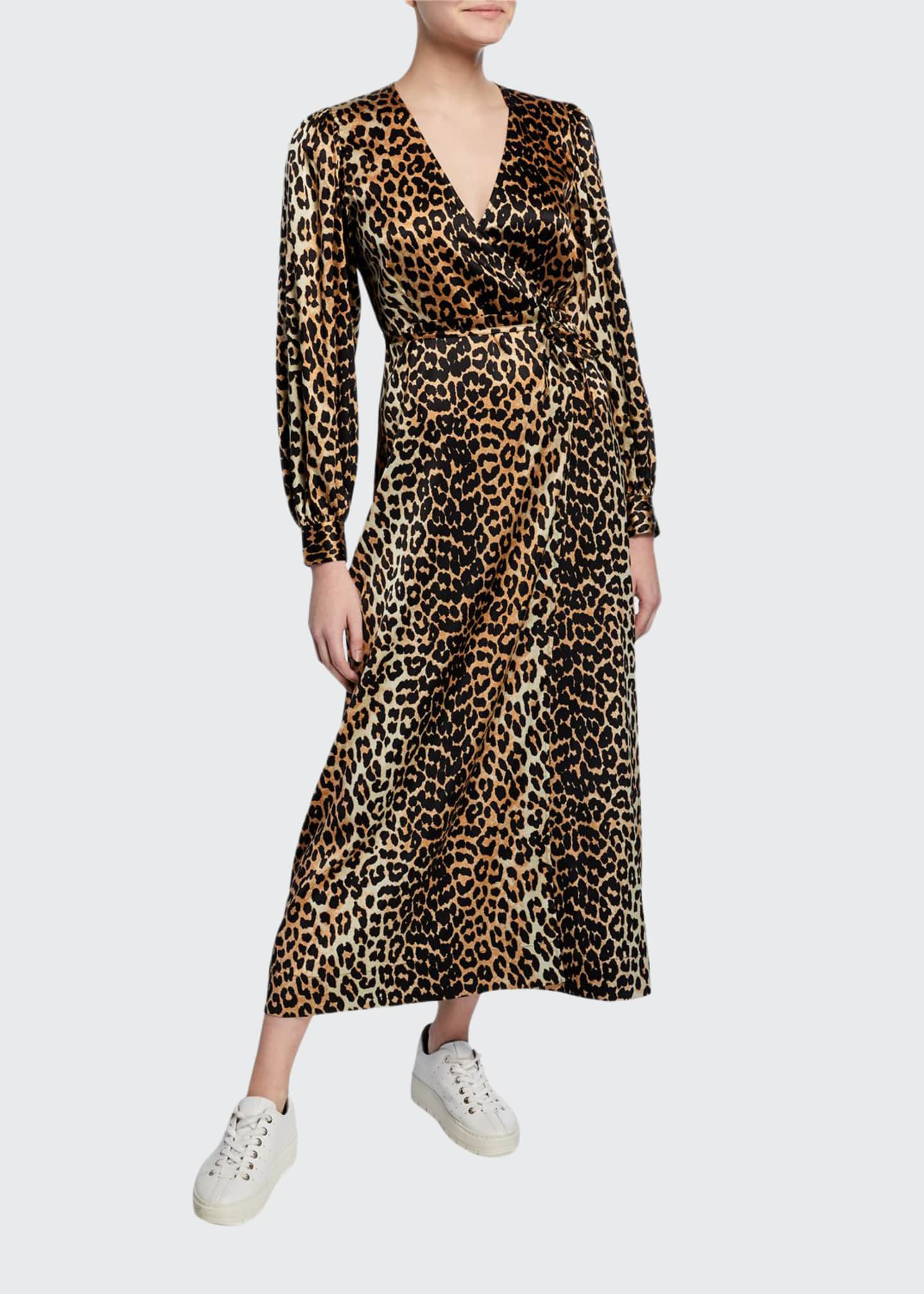 Image 1 of 2: Leopard-Print Surplice Long-Sleeve Stretch-Silk Satin Dress