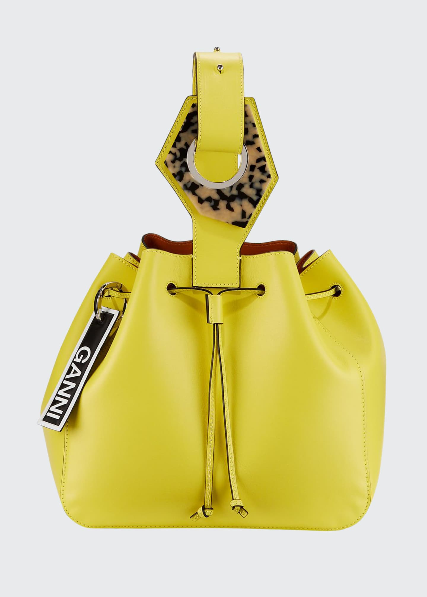 Ganni Leather Cinch Bucket Bag