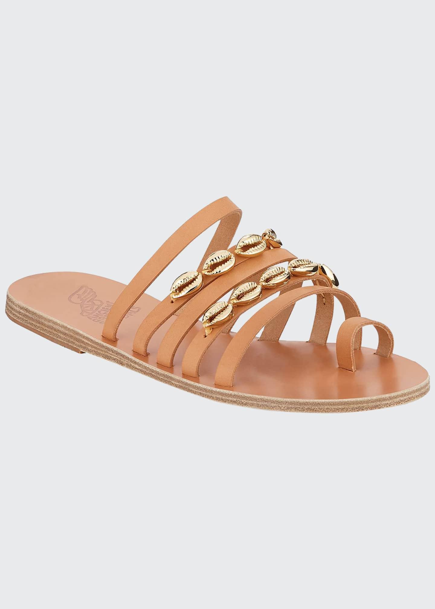 Ancient Greek Sandals Niki Metallic Seashell Slide Sandals