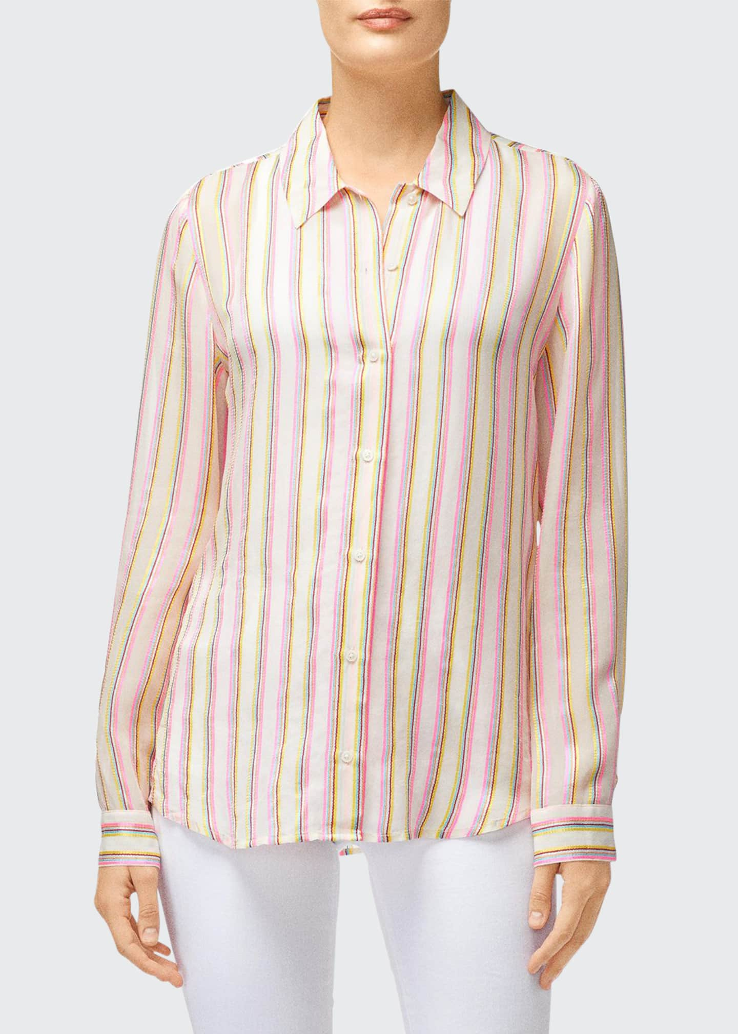 Image 1 of 2: Elena Striped Long-Sleeve Button-Back Shirt