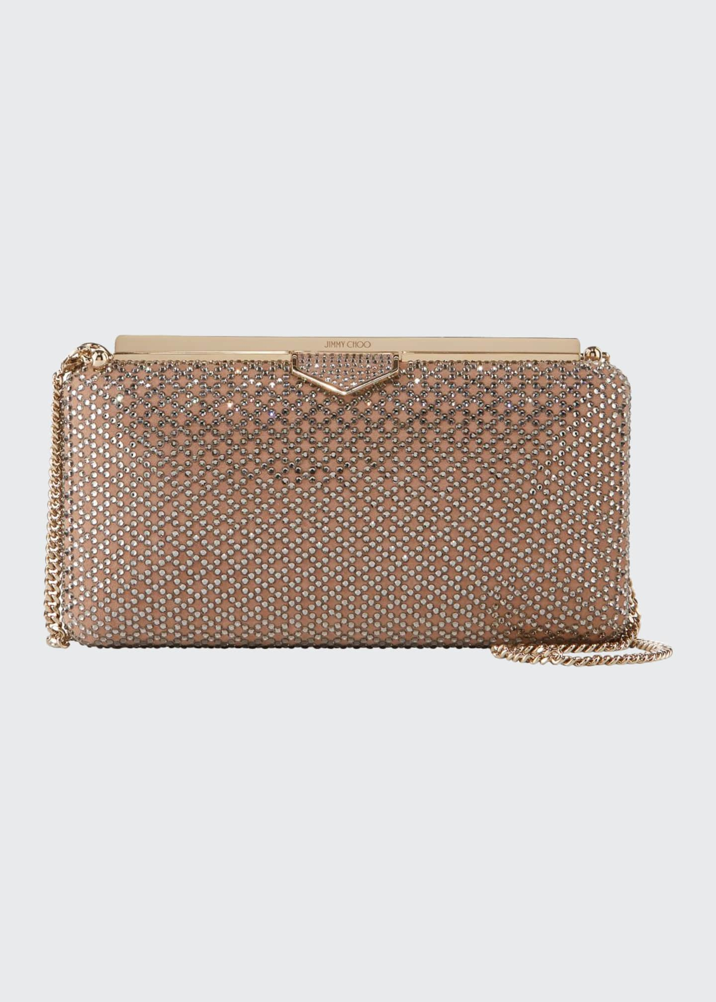 Jimmy Choo Ellipse Embellished Suede Clutch Bag