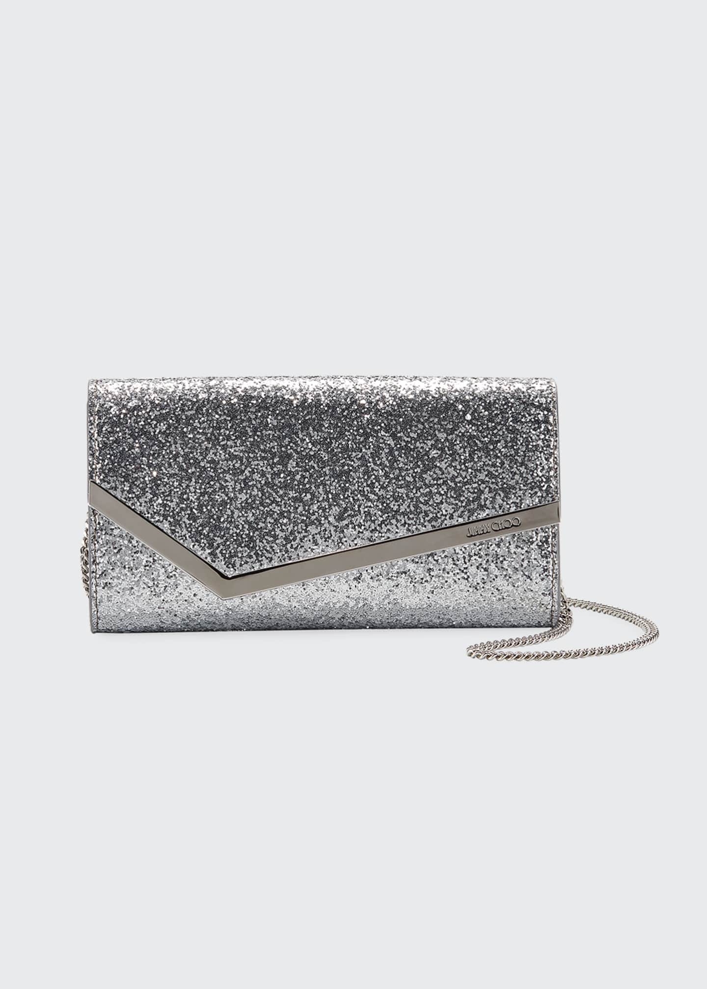 Image 1 of 3: Emmie Glittered Leather Clutch Bag