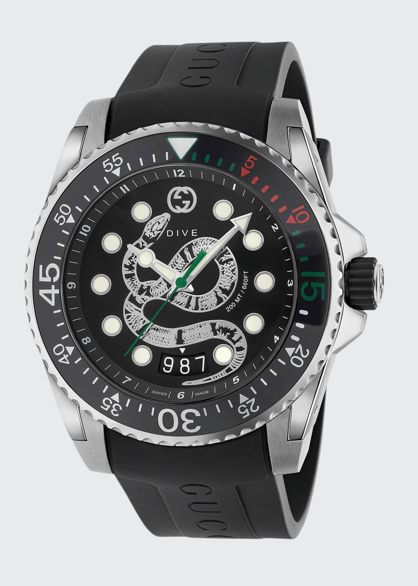 Image 1 of 3: Men's Dive King Snake Stainless Steel Watch with Rubber Strap