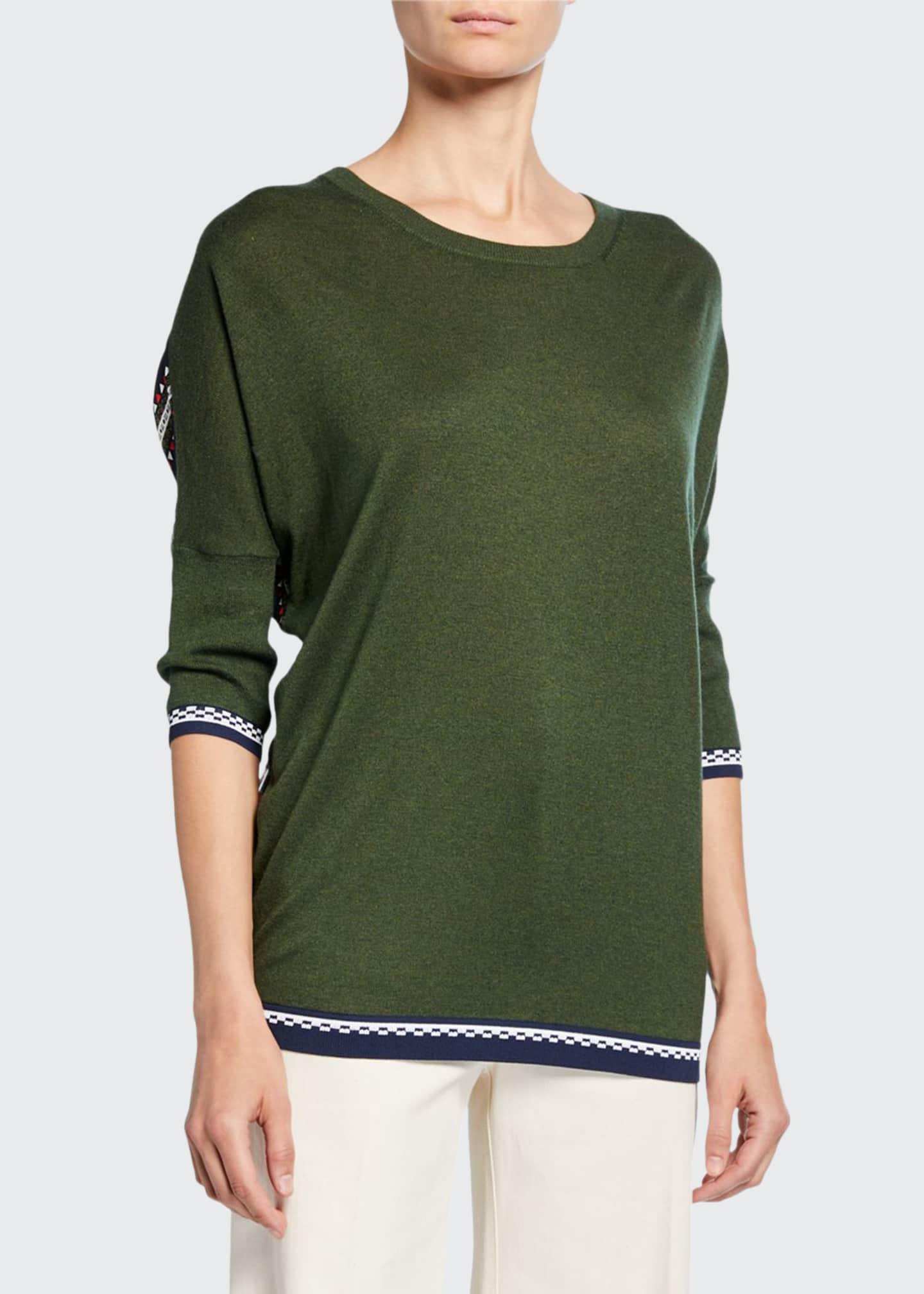 Derek Lam Striped Chiffon-Back Crewneck Sweater