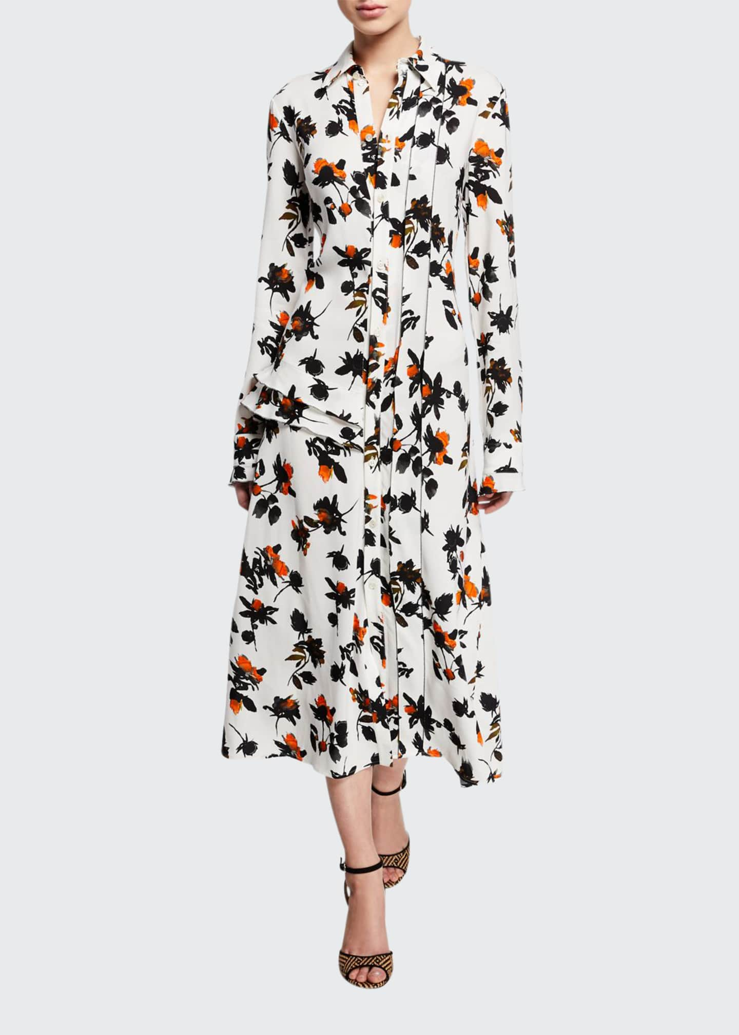 Image 1 of 2: Floating Floral Long-Sleeve Dress