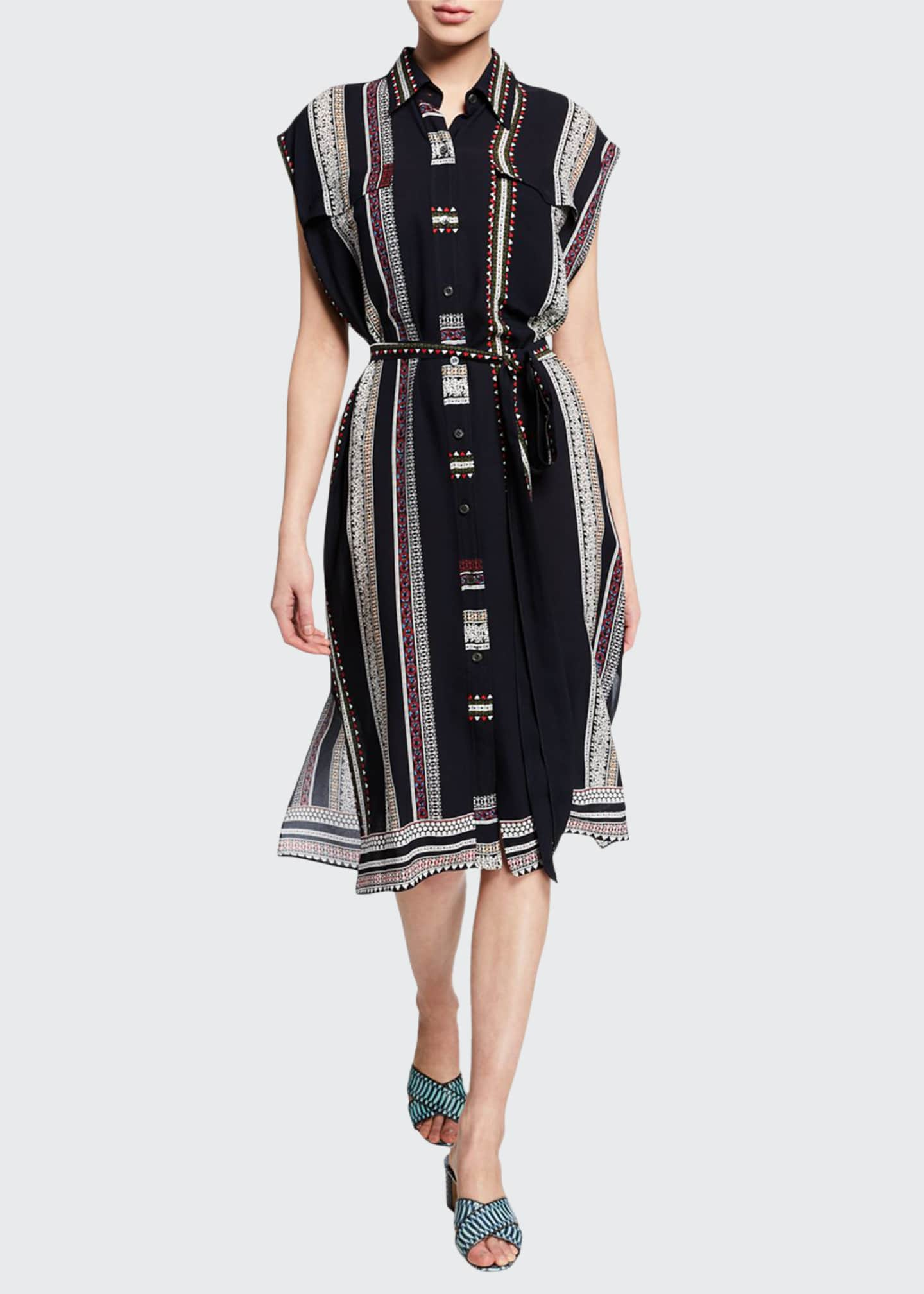 Image 1 of 2: Sleeveless Provincial Striped Dress
