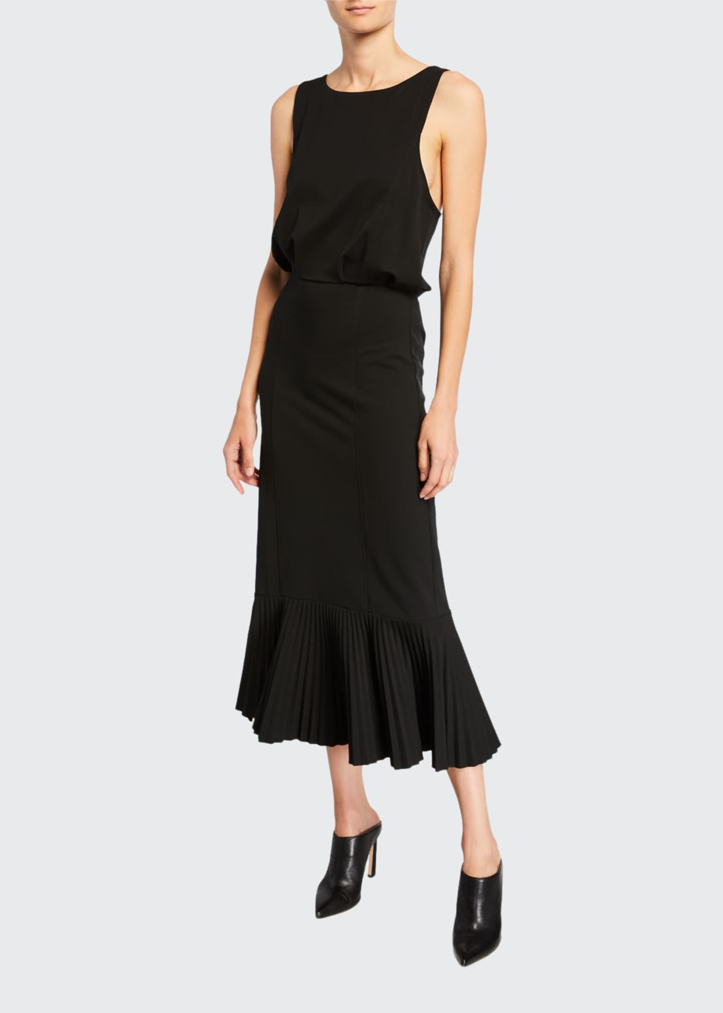 Image 1 of 2: Sleeveless Pleated Flounce-Hem Dress