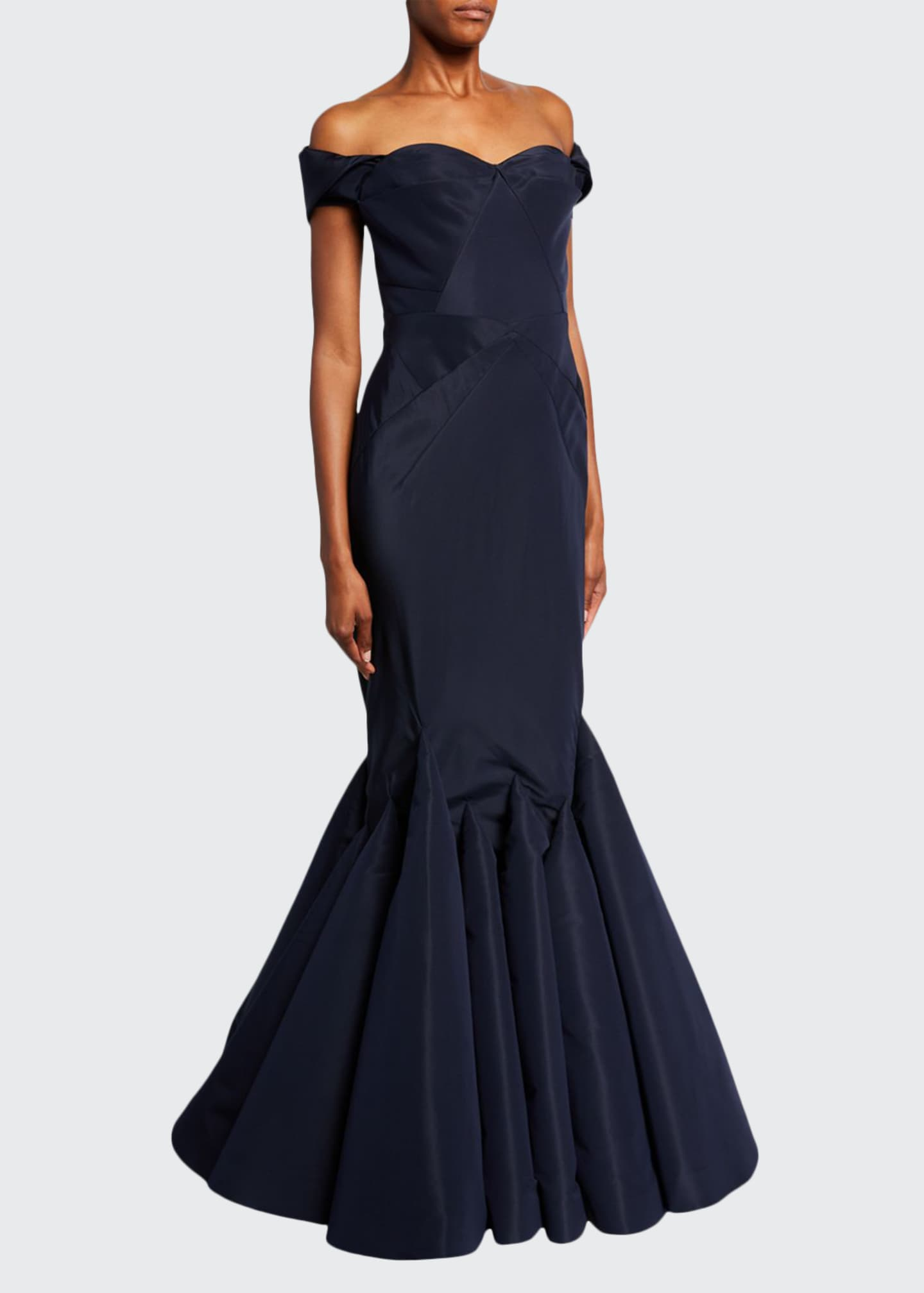 Image 1 of 2: Off-the-Shoulder Mermaid Taffeta Gown