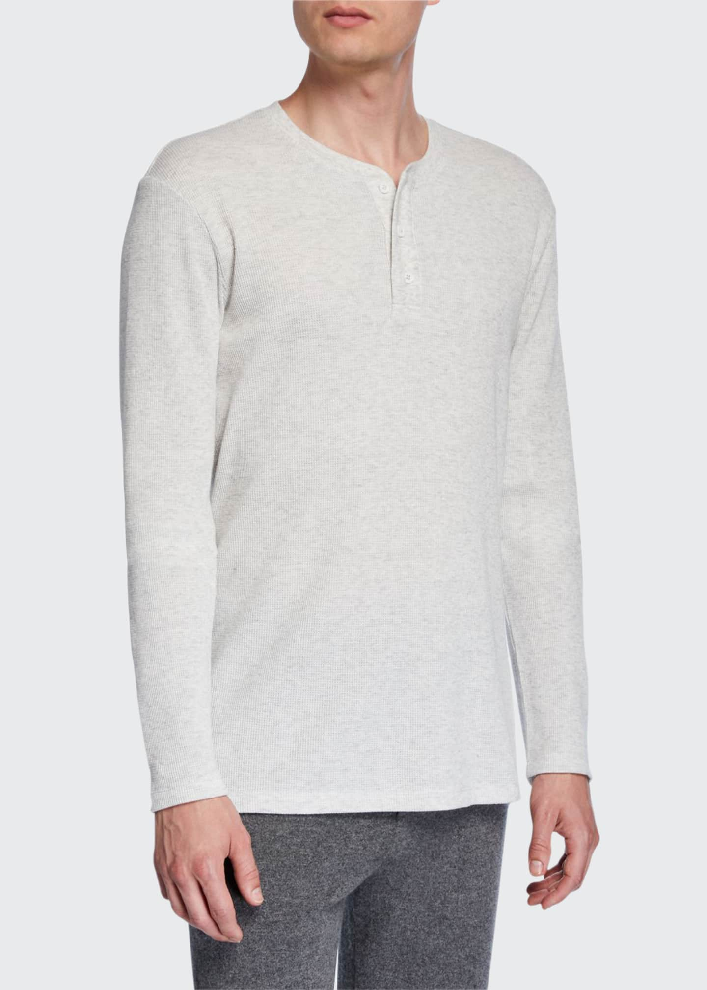 Image 1 of 2: Men's Waffle-Knit Henley Shirt