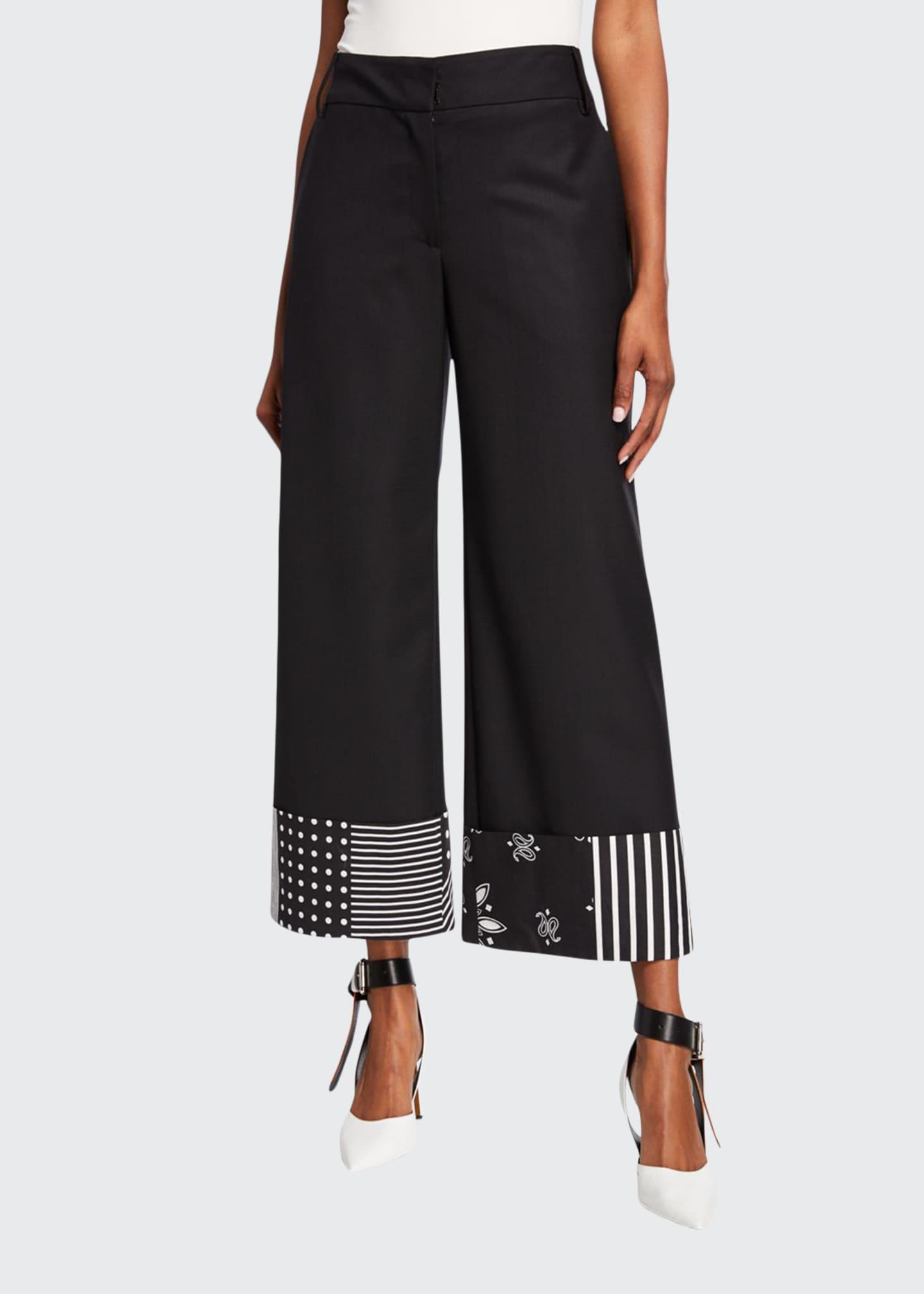 Monse Bandana-Print Cuff Trousers