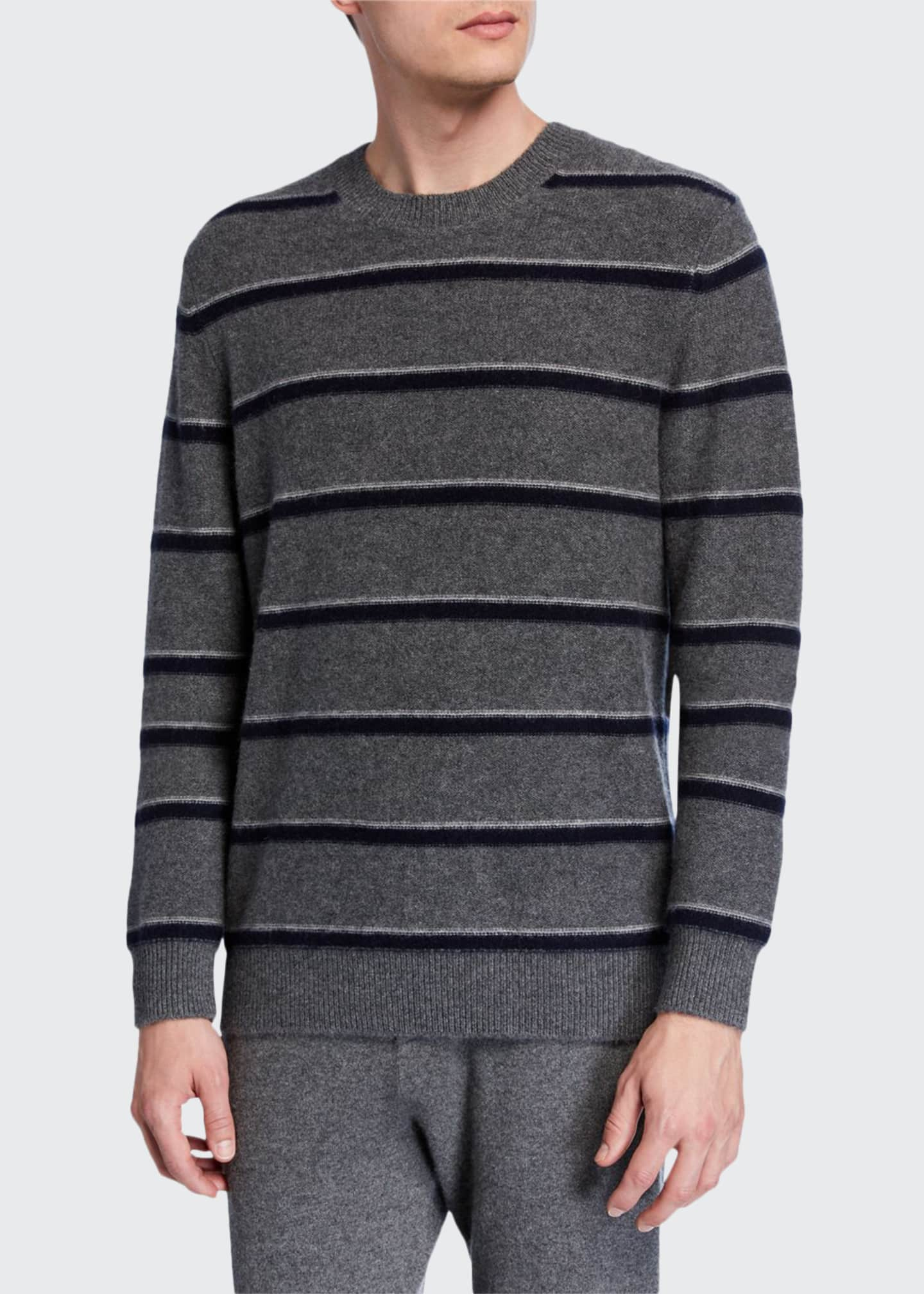 Image 1 of 2: Men's Striped Cashmere Crewneck Sweater