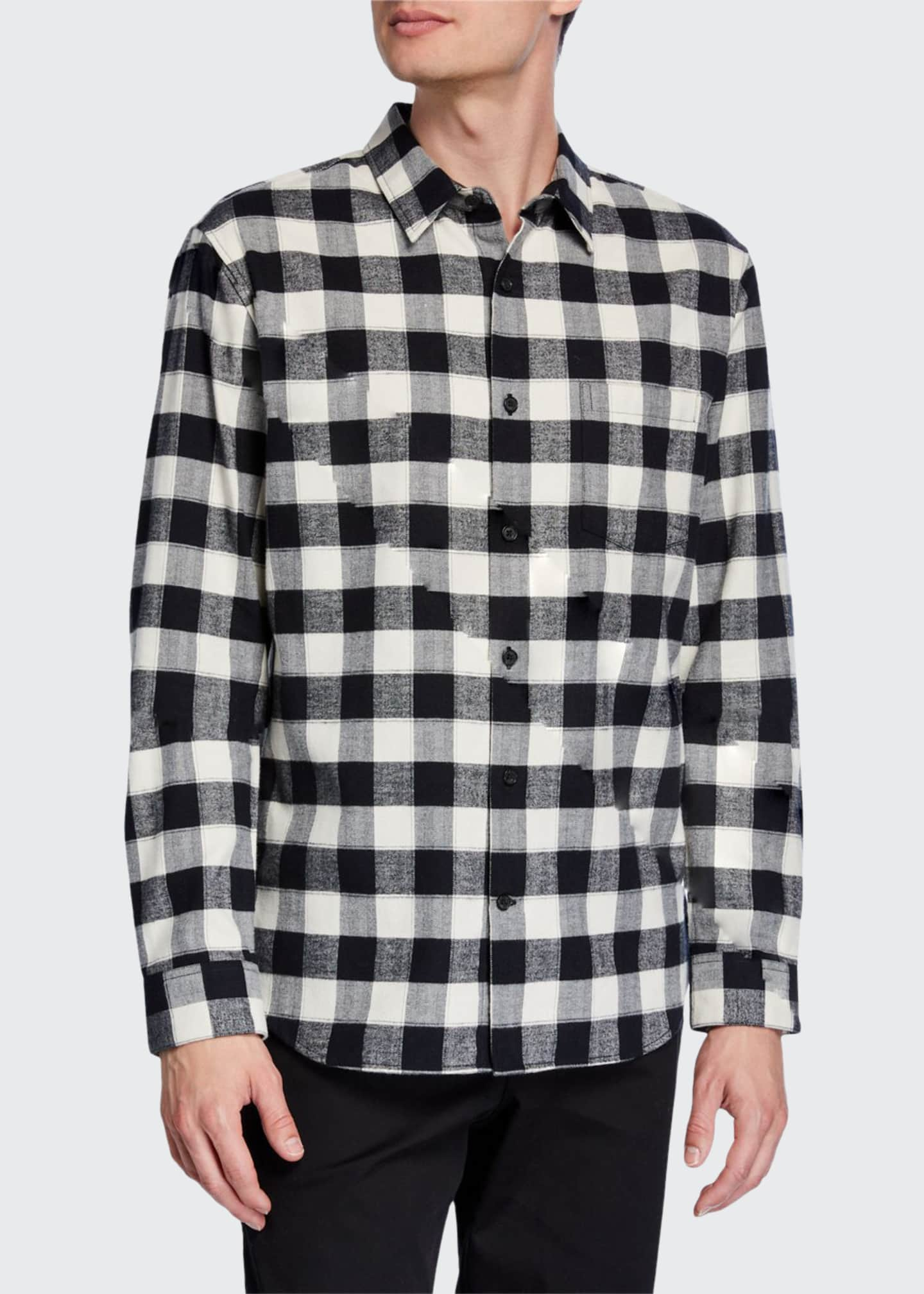 Vince Men's Flannel Buffalo Check Long-Sleeve Sport Shirt