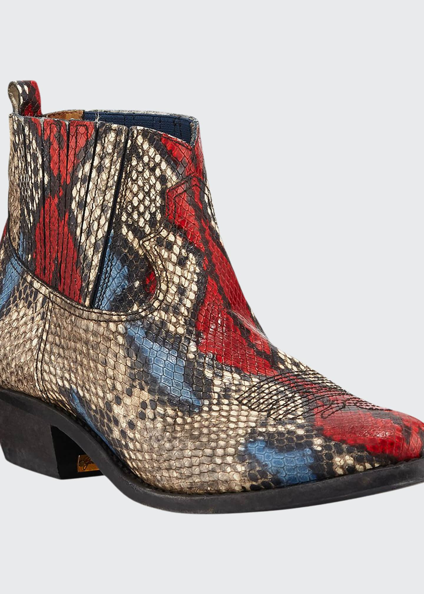 Golden Goose Crosby Snake-Print Western Ankle Boots