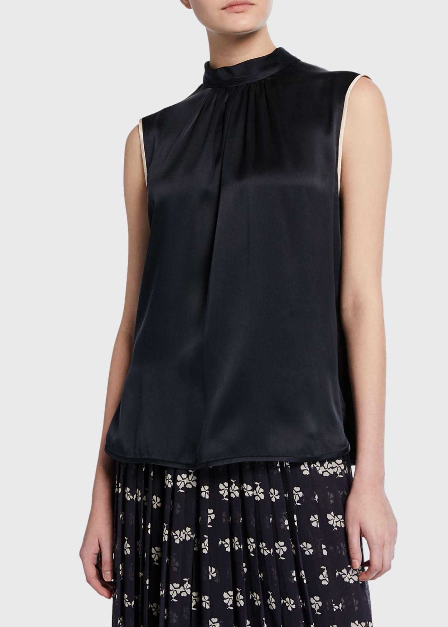 Image 1 of 2: Orel Sleeveless Two-Tone Silk Blouse