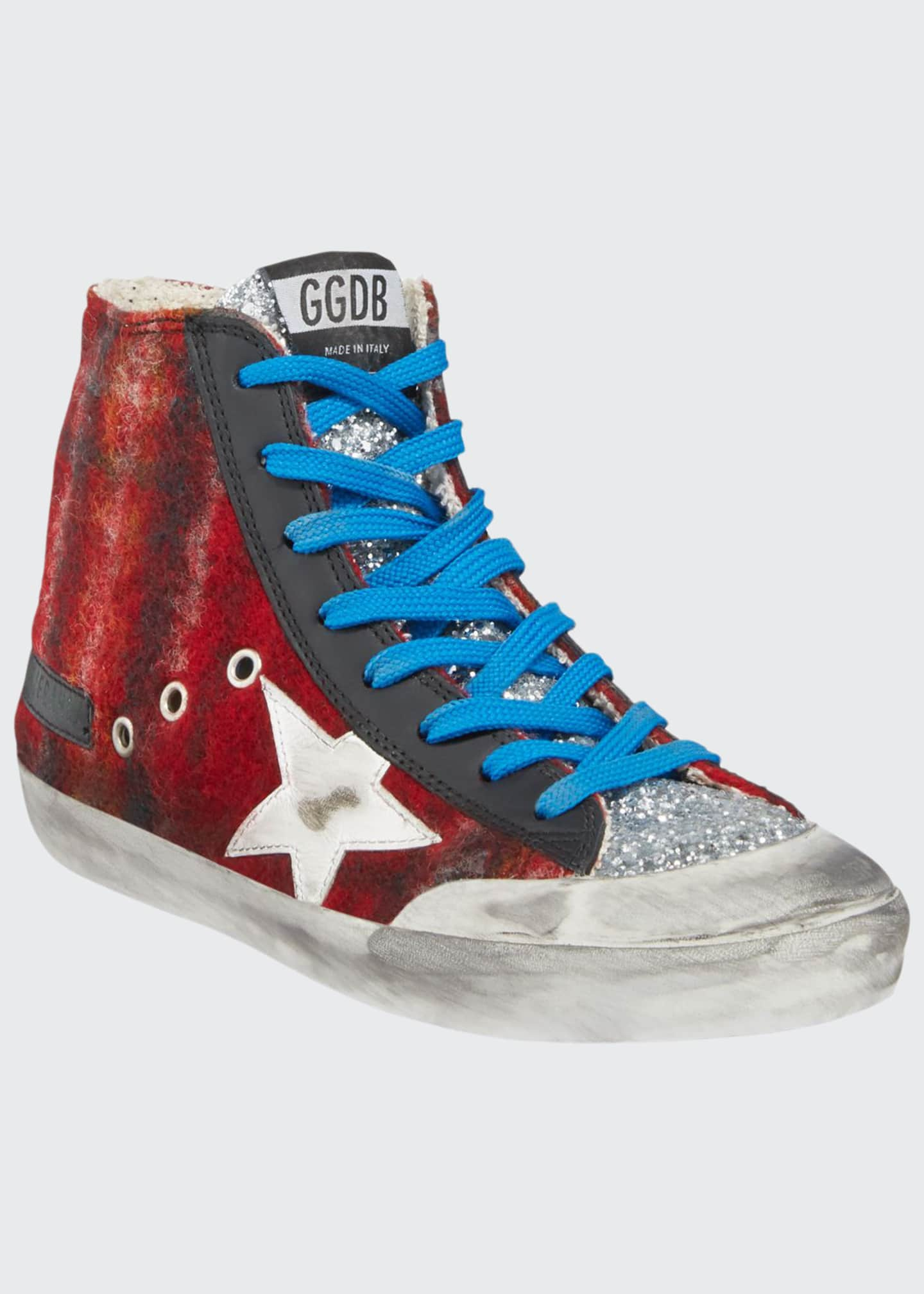 Golden Goose Francy Wool & Glitter High-Top Sneakers