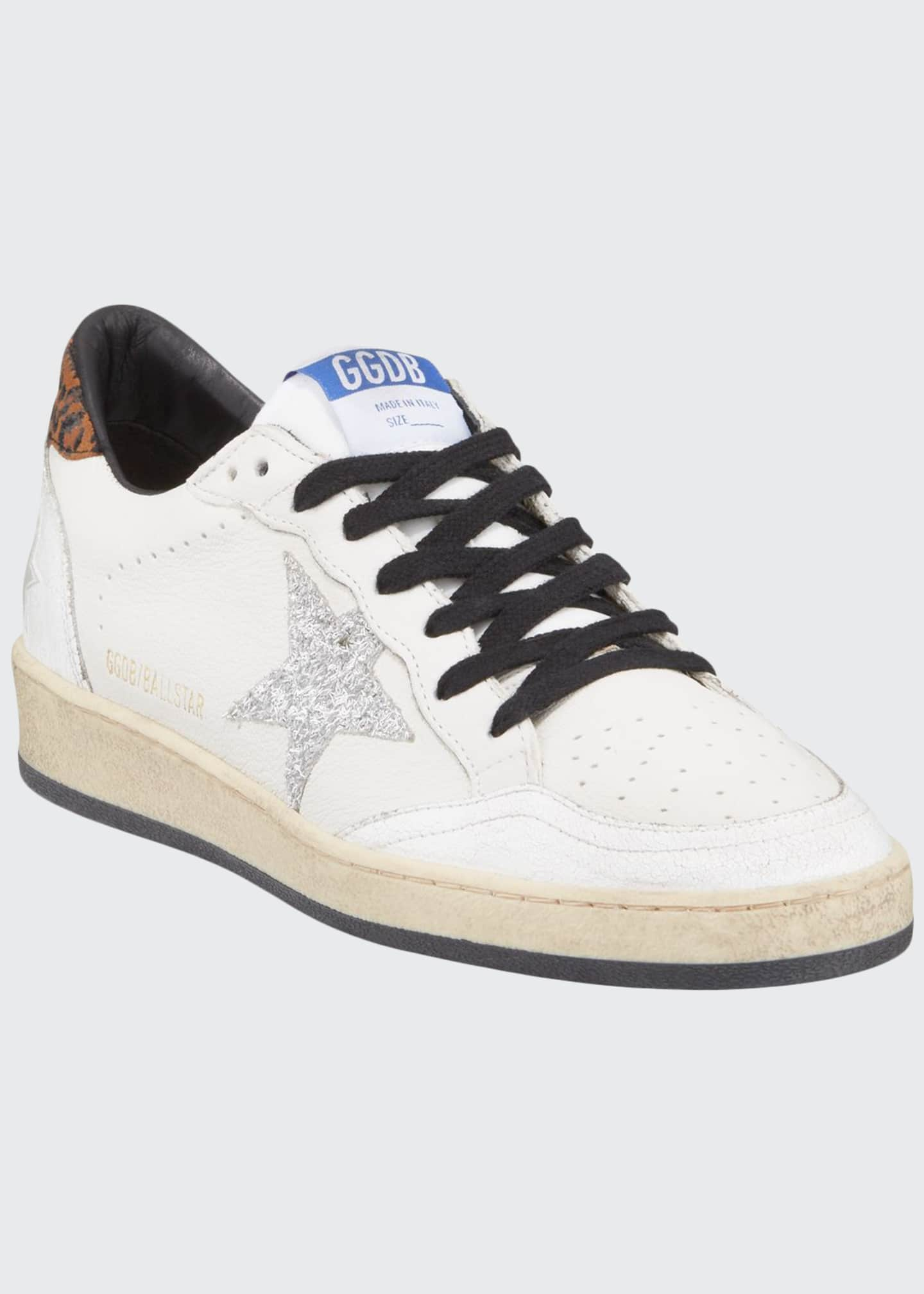Image 1 of 4: Ball Star Lace-Up Distressed Leather Sneakers