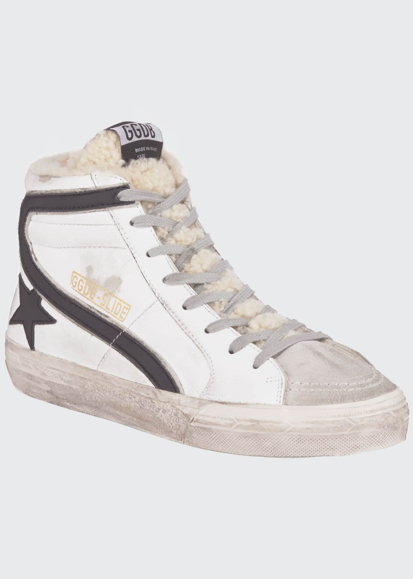 Slide Shearling Lined High Top Sneakers