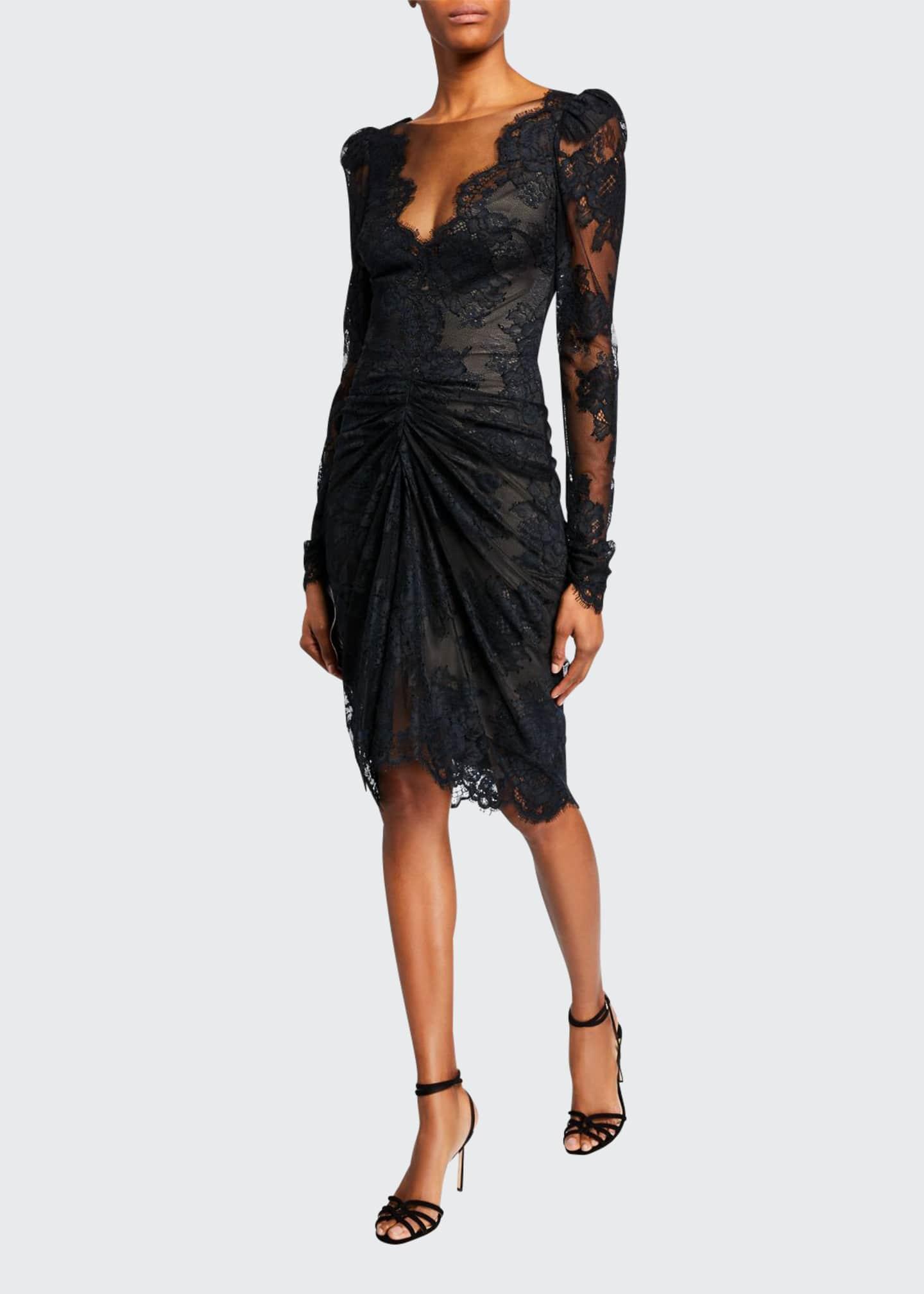 Monique Lhuillier Long-Sleeve Corded Lace Cocktail Dress