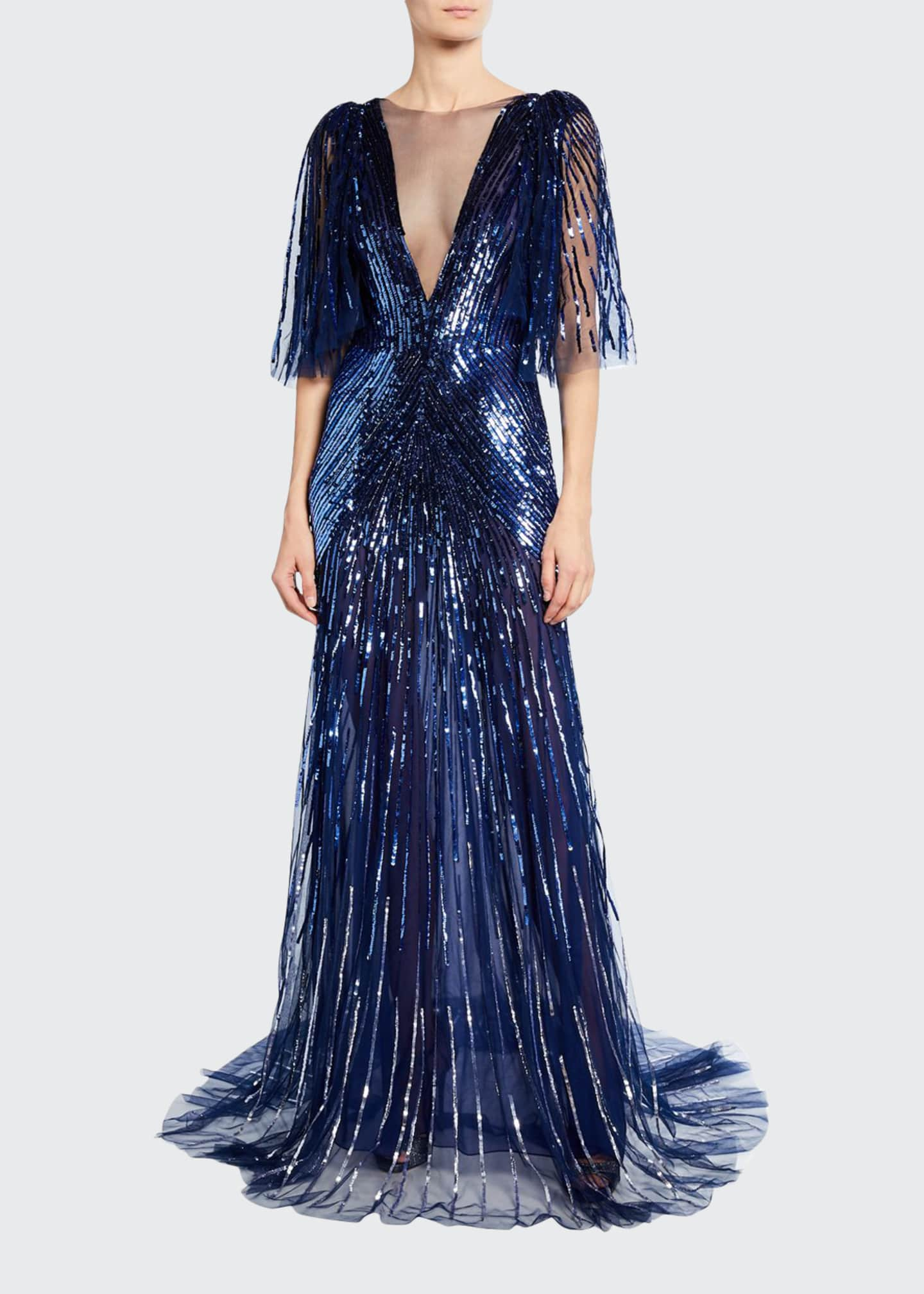 Monique Lhuillier Sequin-Embroidered Flutter-Sleeve Gown