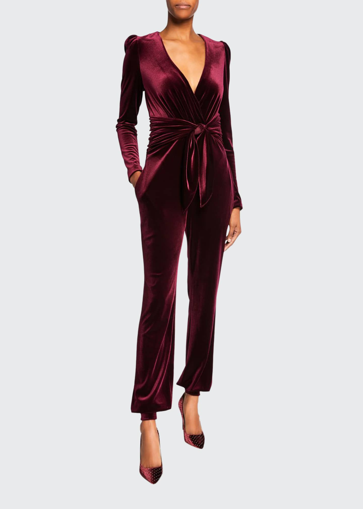 Monique Lhuillier Velour Tie-Waist Jumpsuit