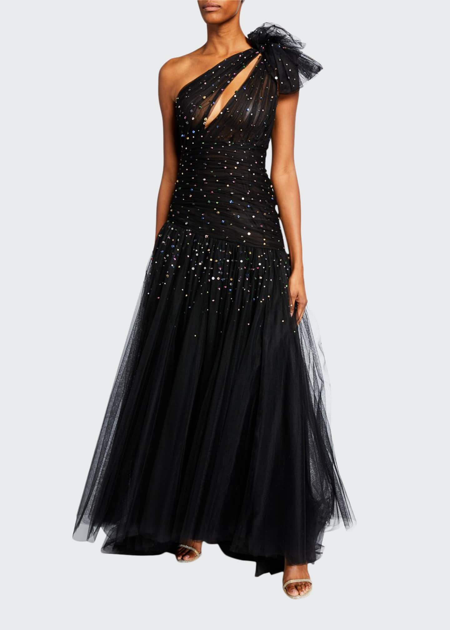 Monique Lhuillier One-Shoulder Embroidered Bow Gown