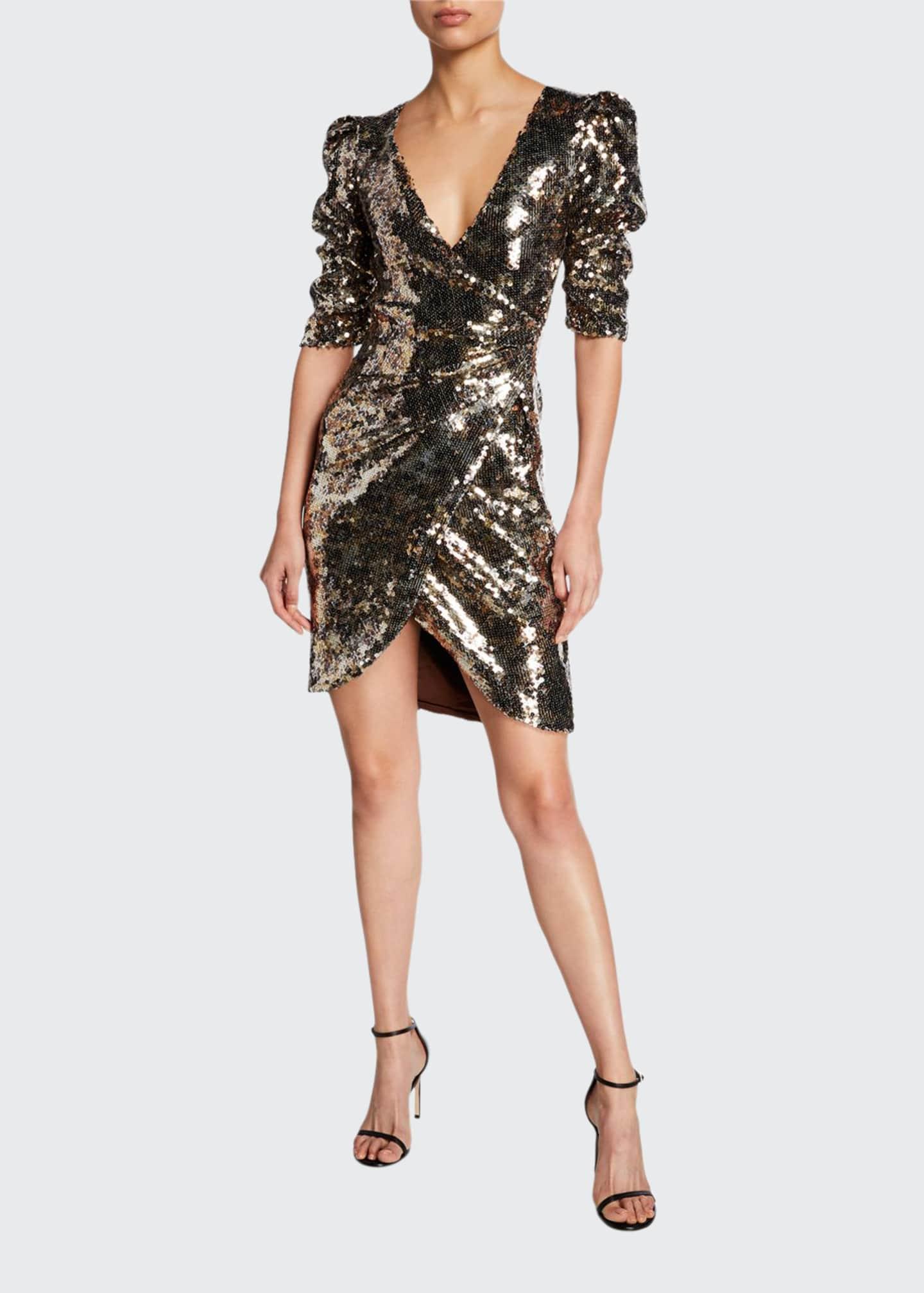Monique Lhuillier Leopard-Print Sequined Ruched Half-Sleeve