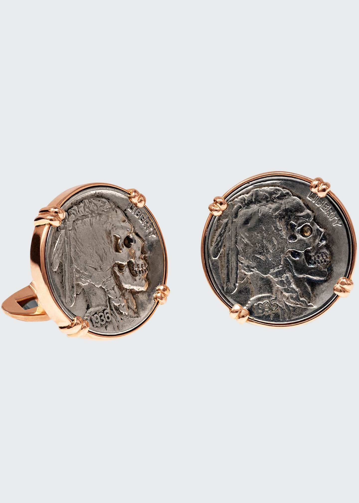 Image 1 of 1: 18K Rose Gold Cufflinks w/ Hobo Nickel Coins