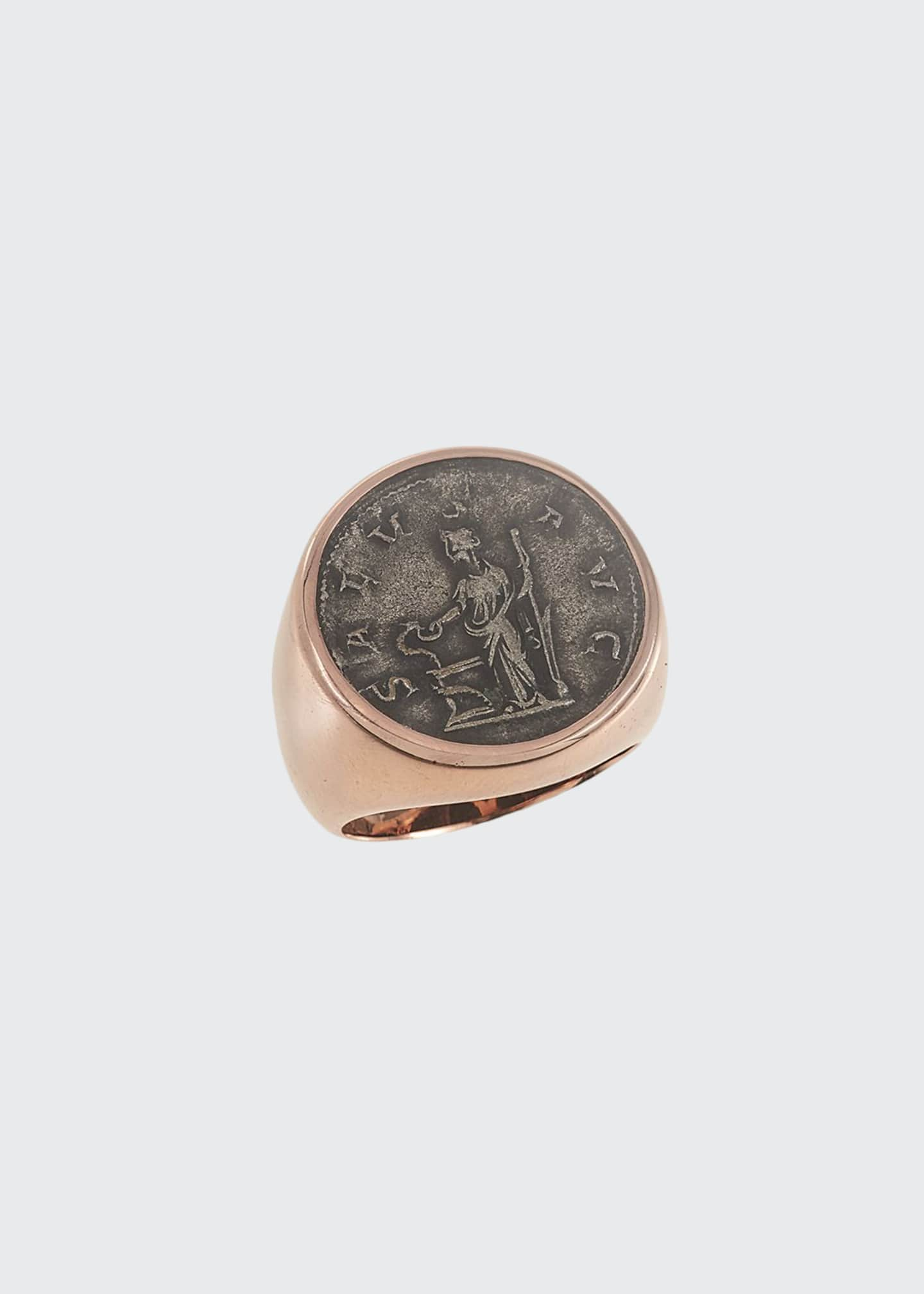 Image 1 of 1: Men's Ancient Salus Coin 18K Gold Ring