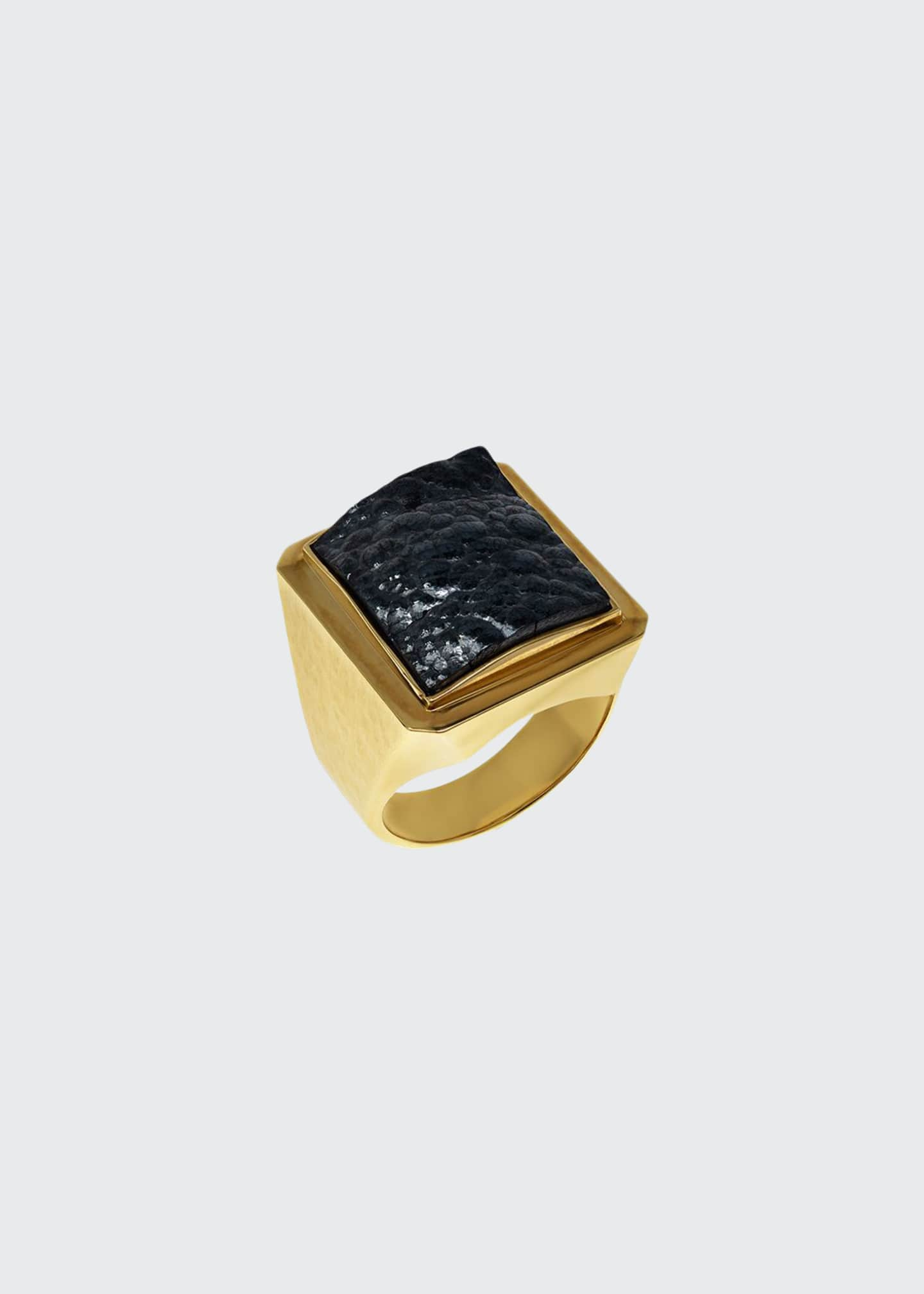 Image 1 of 1: Men's Hematite 18k Gold Ring