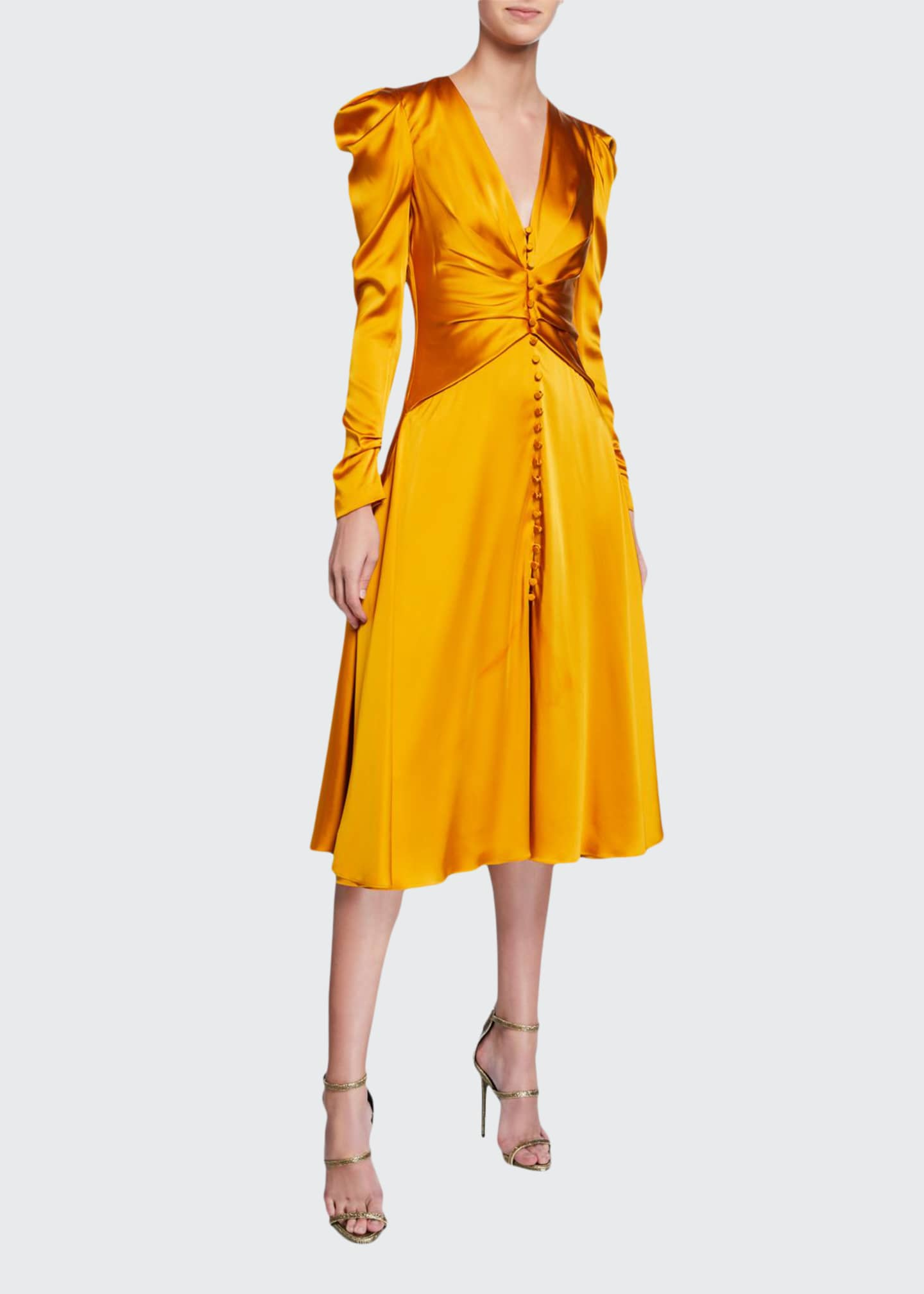 Image 1 of 2: Ruched-Front V-Neck Long-Sleeve Sateen Dress