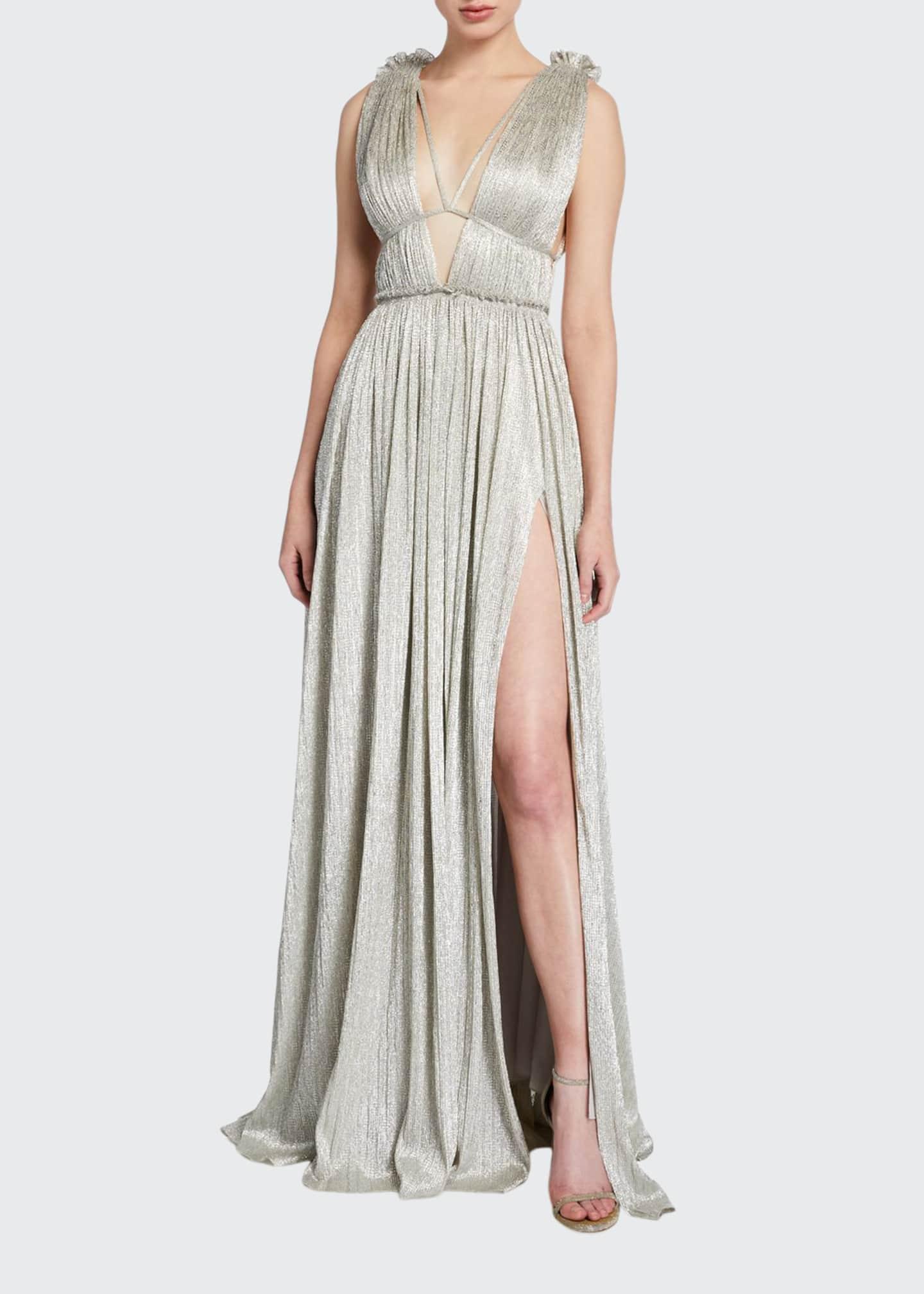 Jonathan Simkhai Plisse Metallic Plunging Maxi Dress
